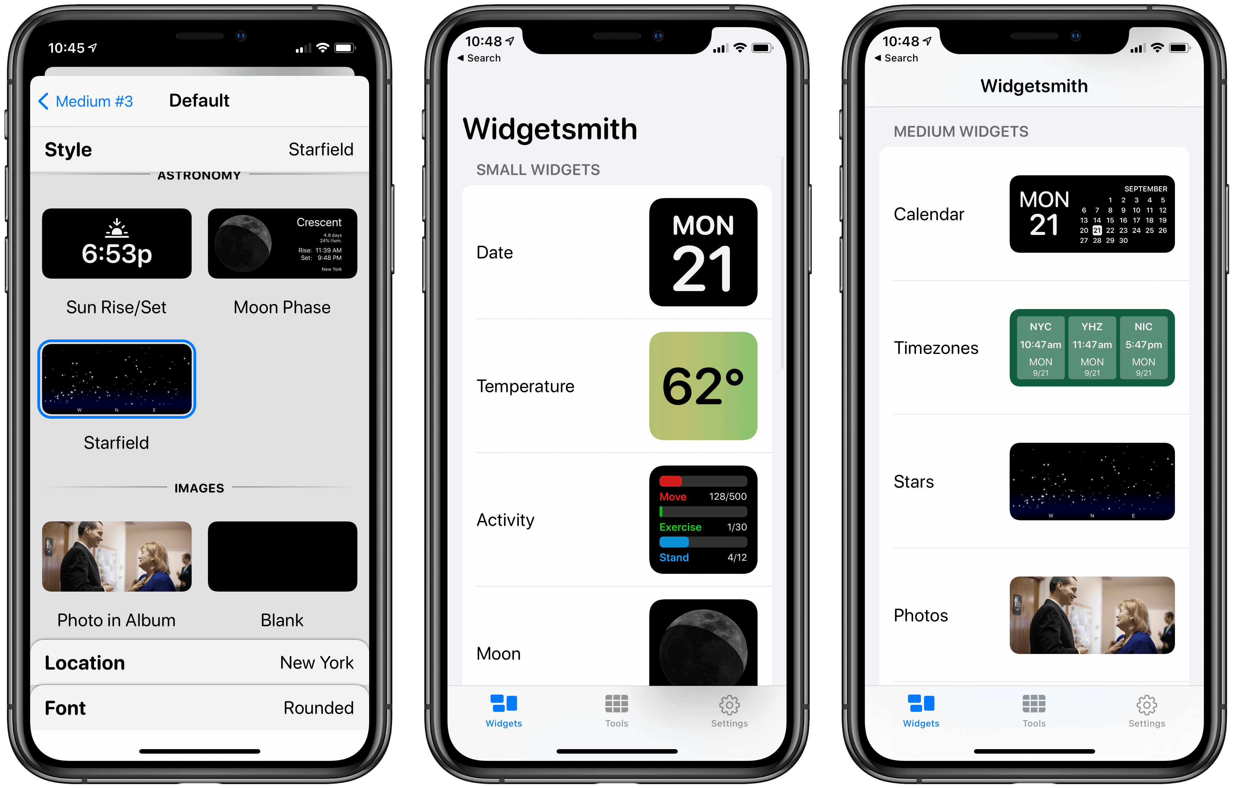 Creating multiple widgets of each size.