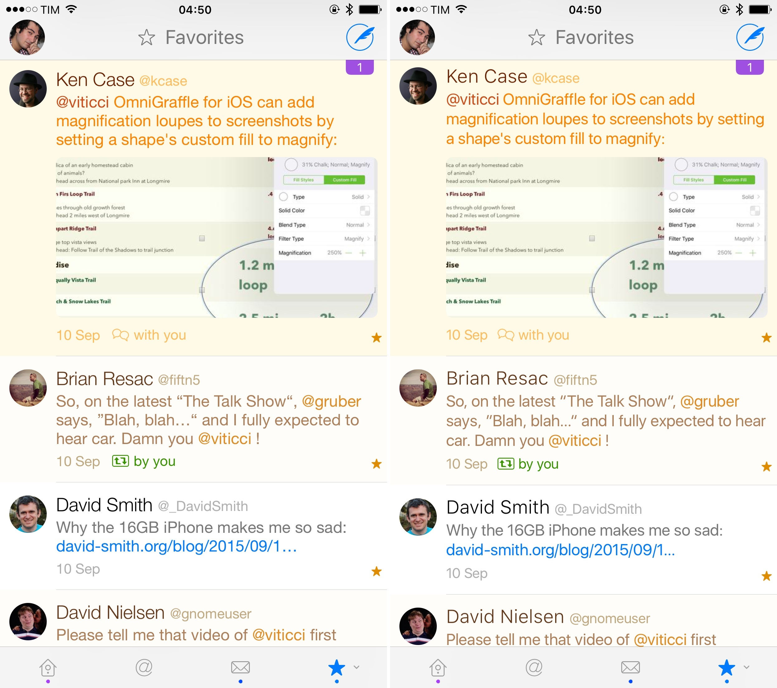 Twitterrific with Helvetica Neue (left) and San Francisco (right).