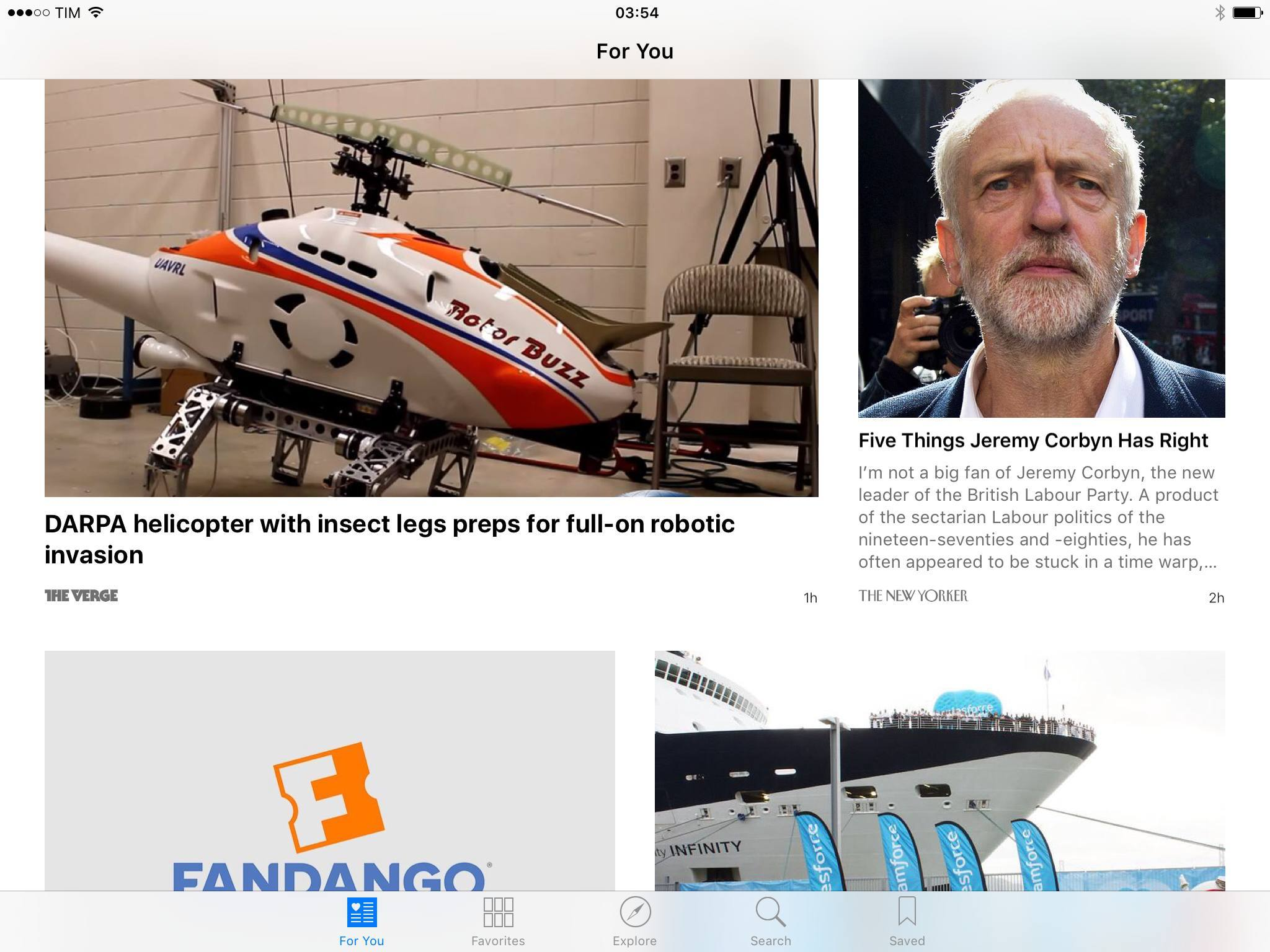 An example of the content I am recommended in Apple News.