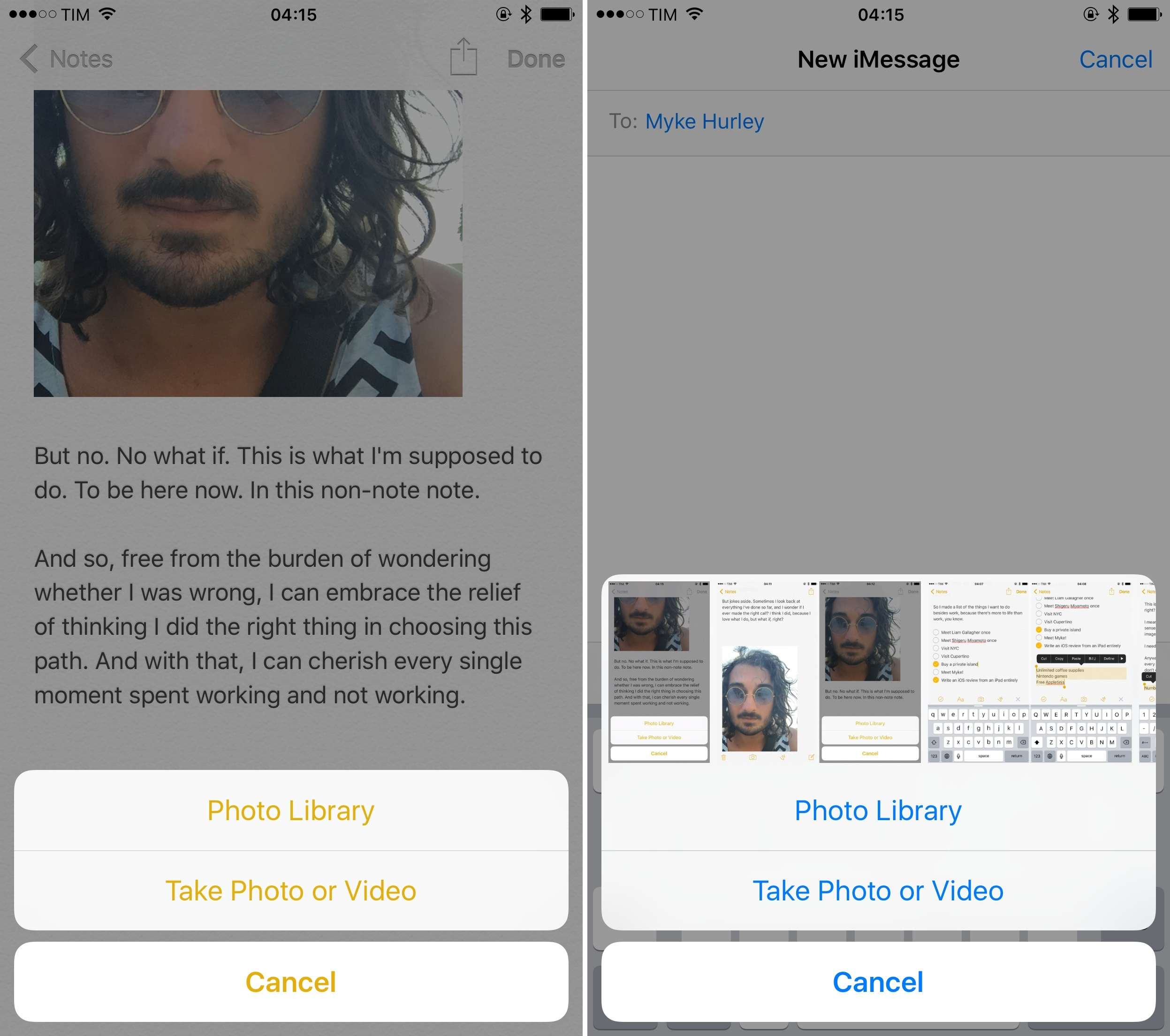 Messages' photo picker (right) is a superior implementation.