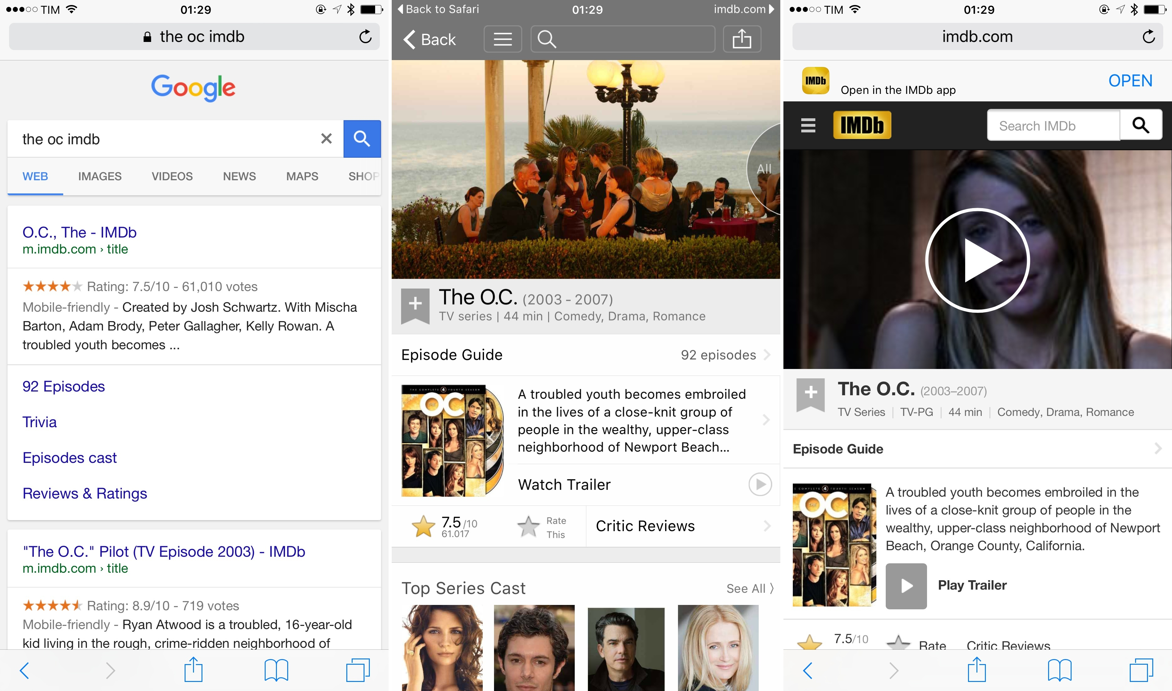 The flow of a Universal Link from Google to IMDb's app and webpage.