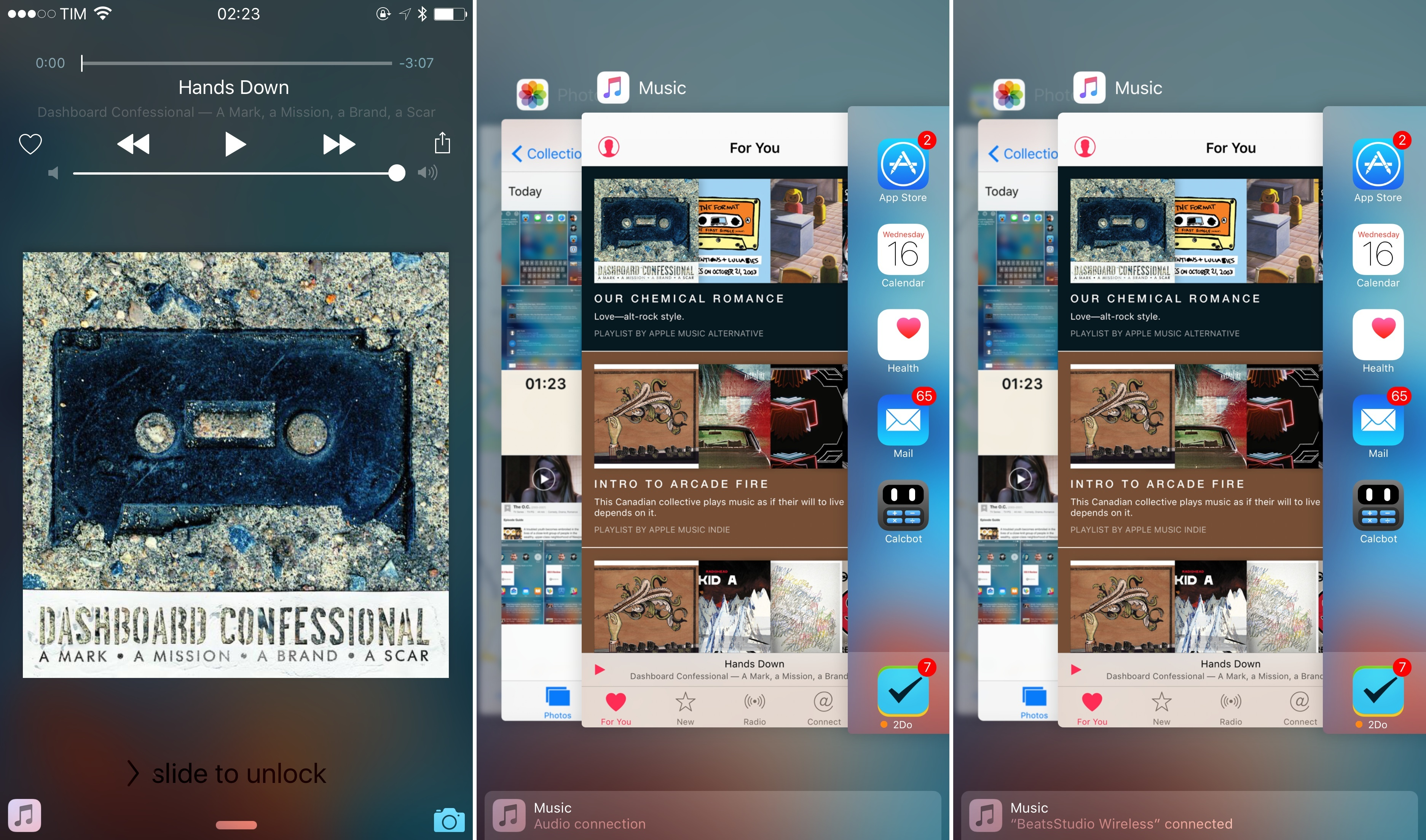 App suggestions can be displayed in the Lock screen (left), or in Handoff.
