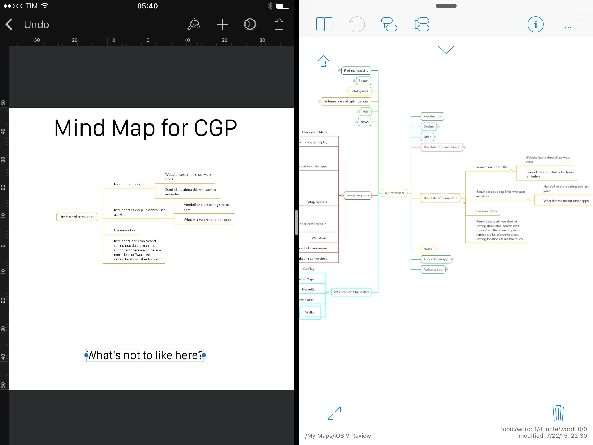 Copying a mind map from iThoughts into Pixelmator.