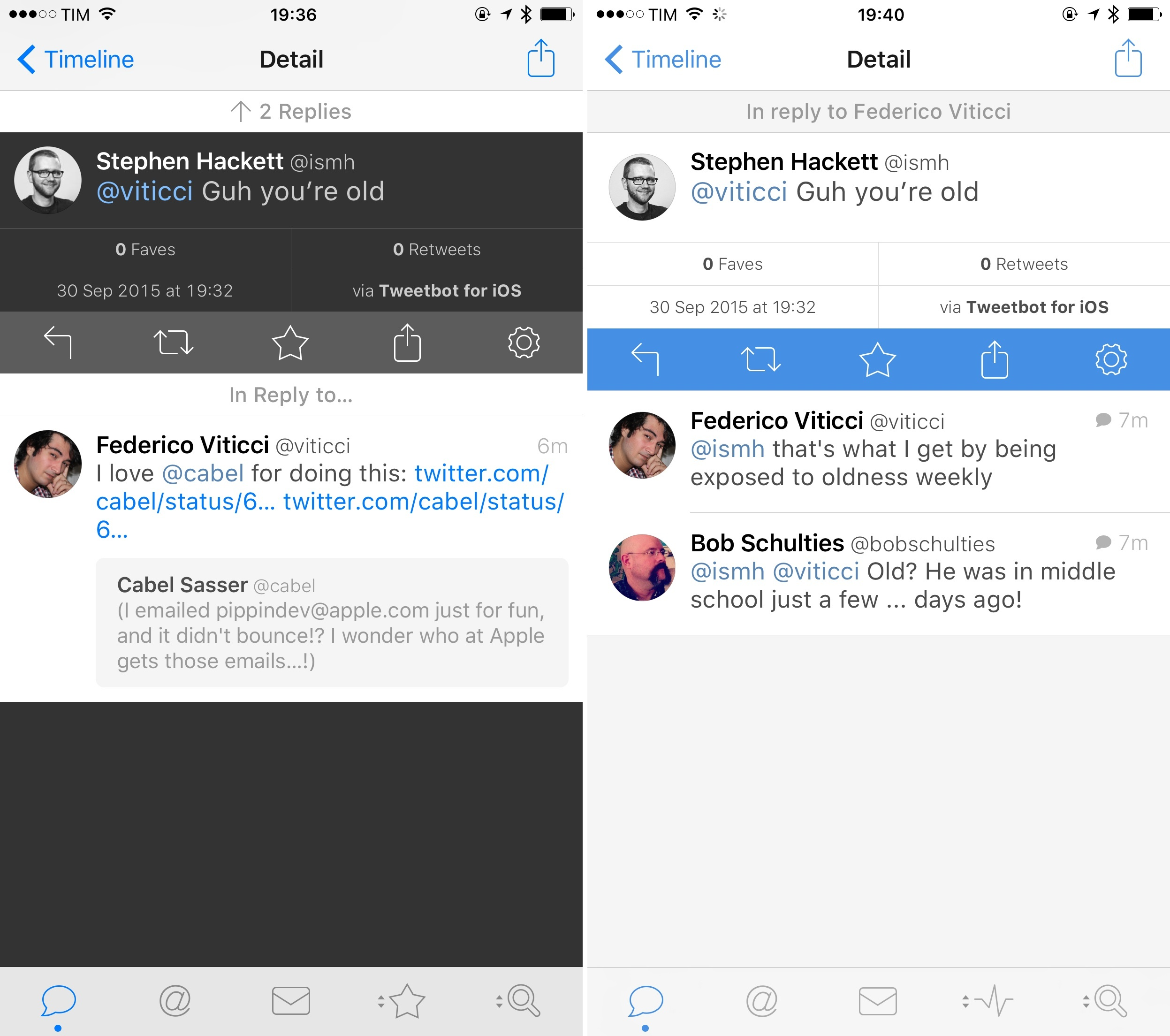 Tweetbot 3's detail view (left) and Tweetbot 4.