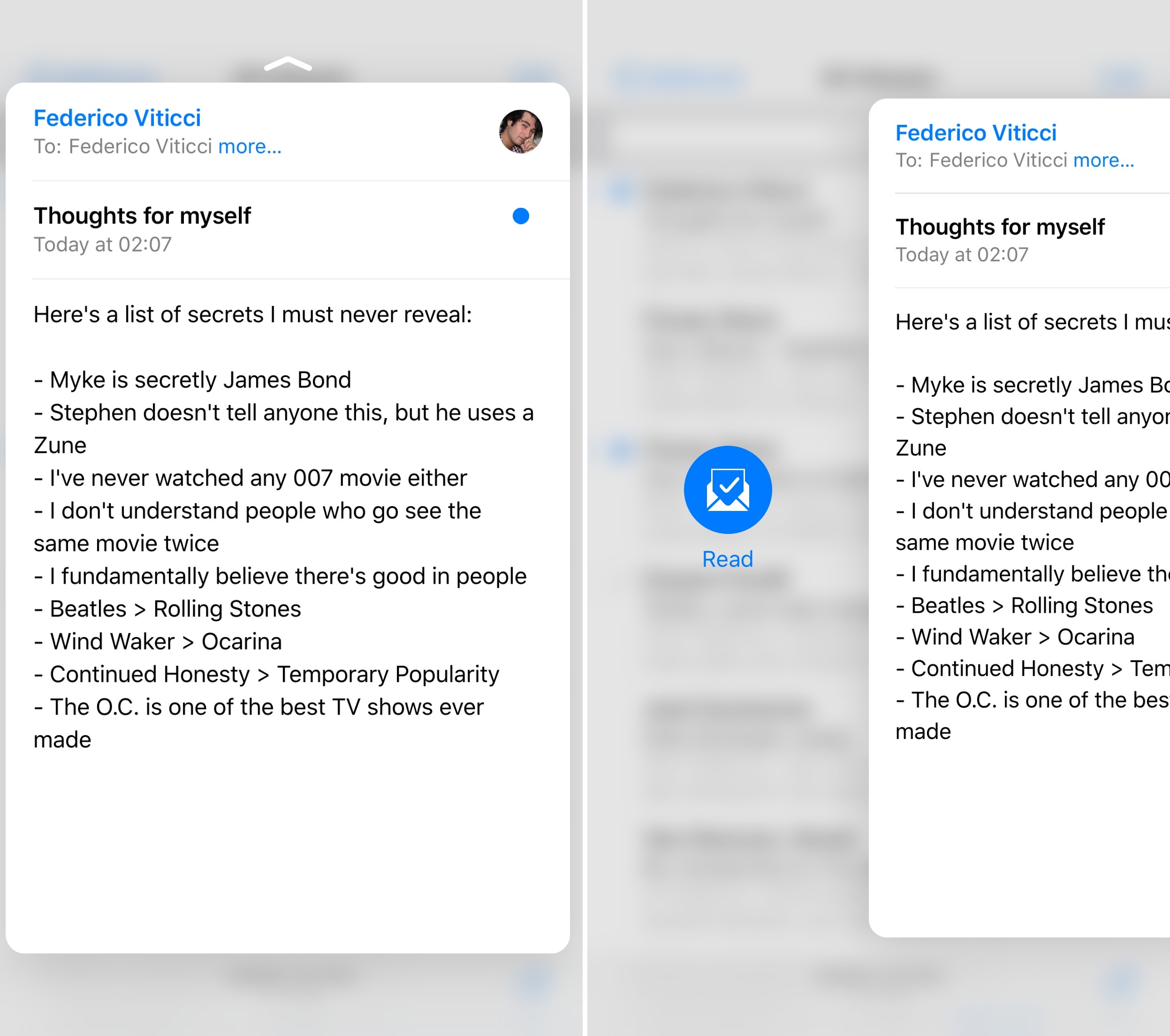 Swiping sideways in Mail's peek reveals additional buttons.