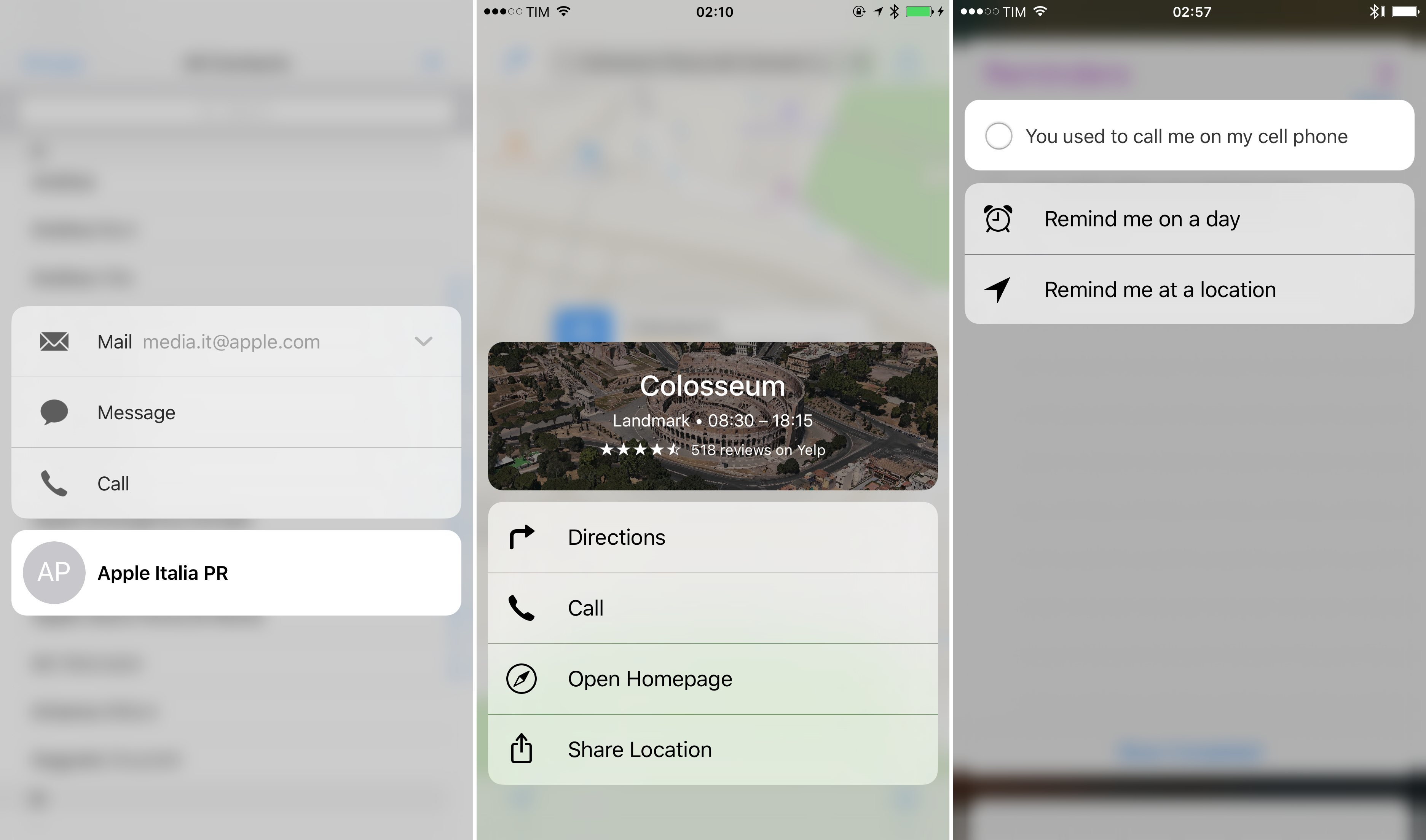Custom menus in Contacts, Maps, and Reminders.