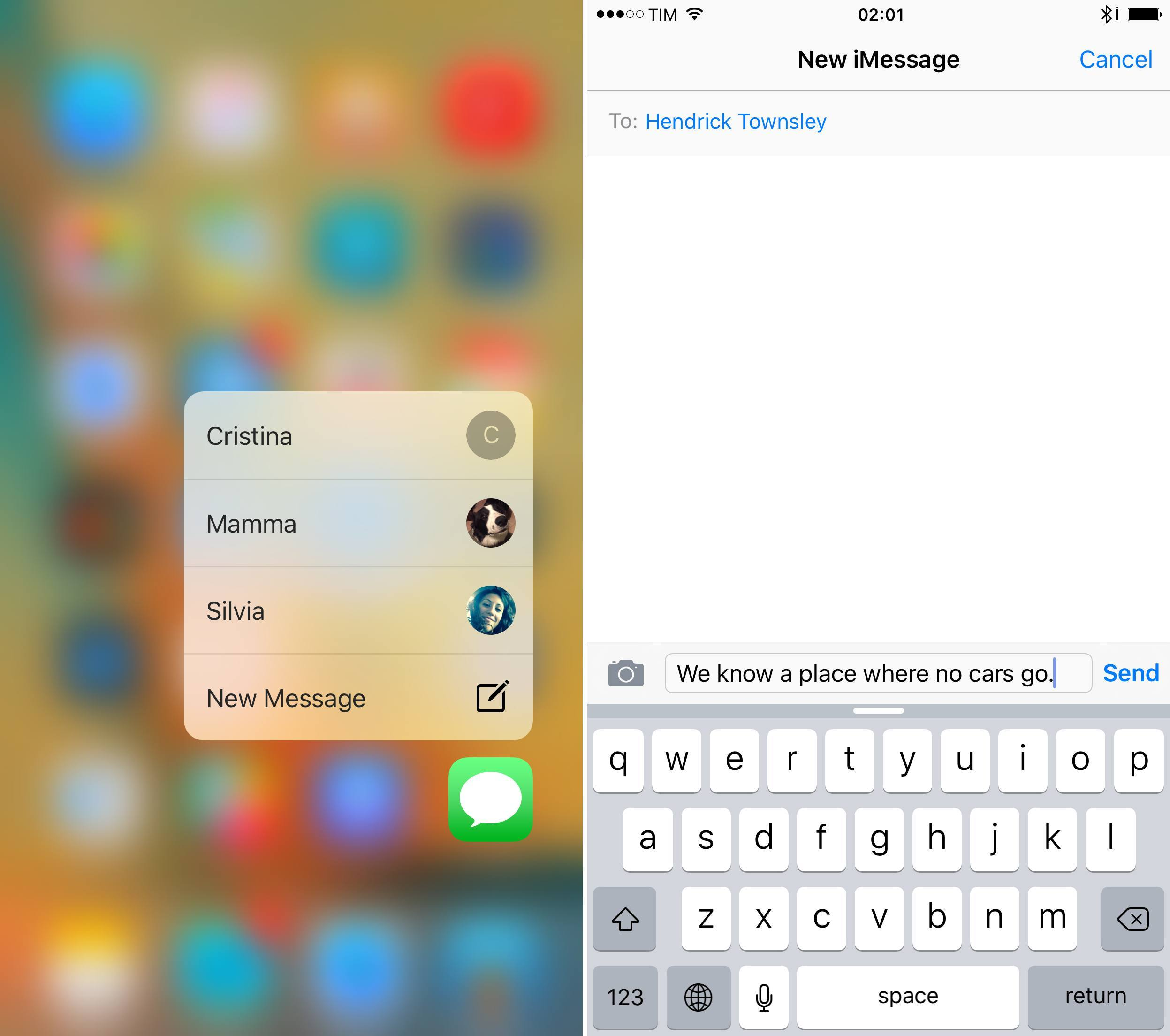 Jumping to conversations with 3D Touch and Messages.