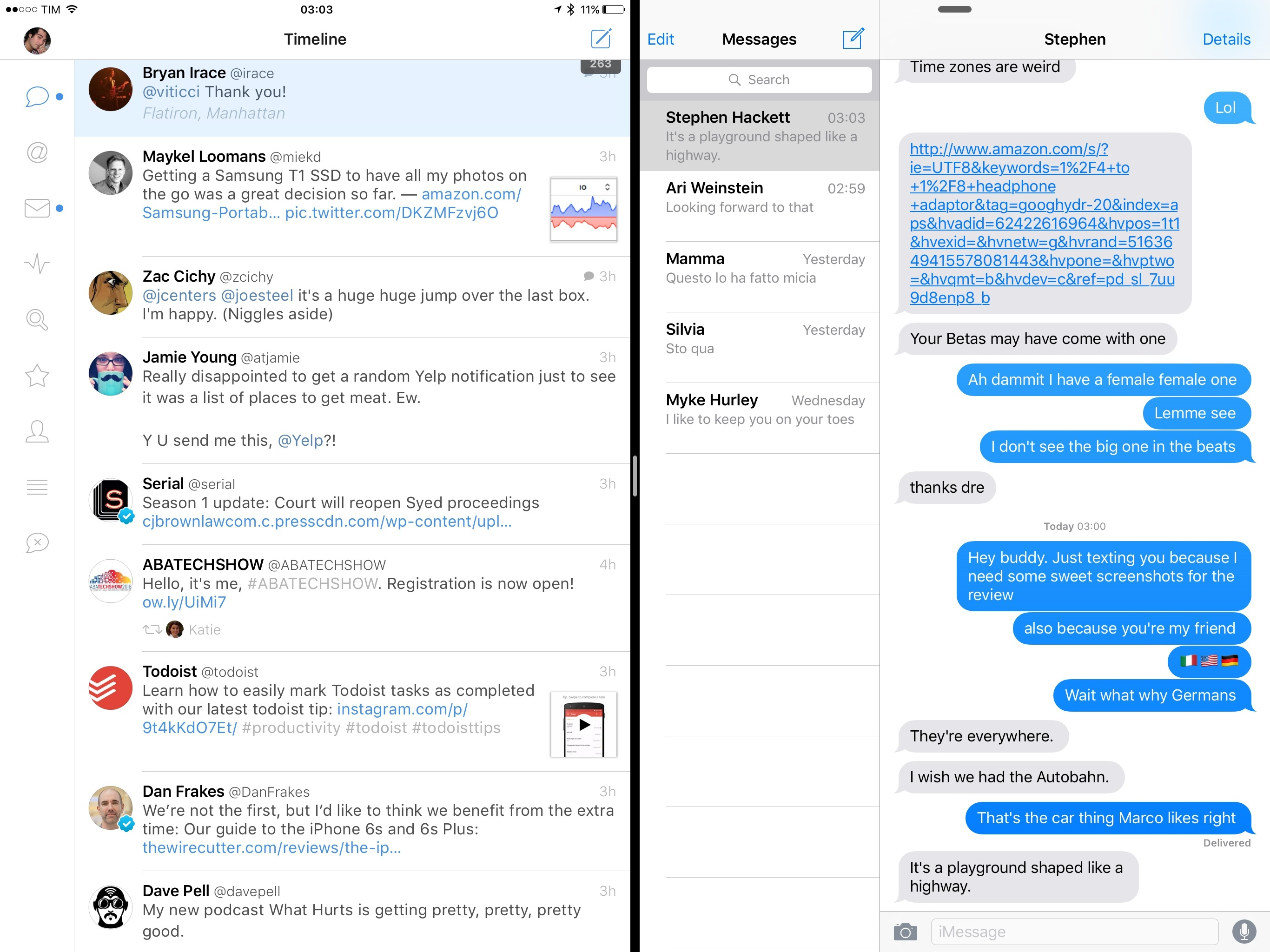 Messages shows a conversation sidebar on the iPad Pro.