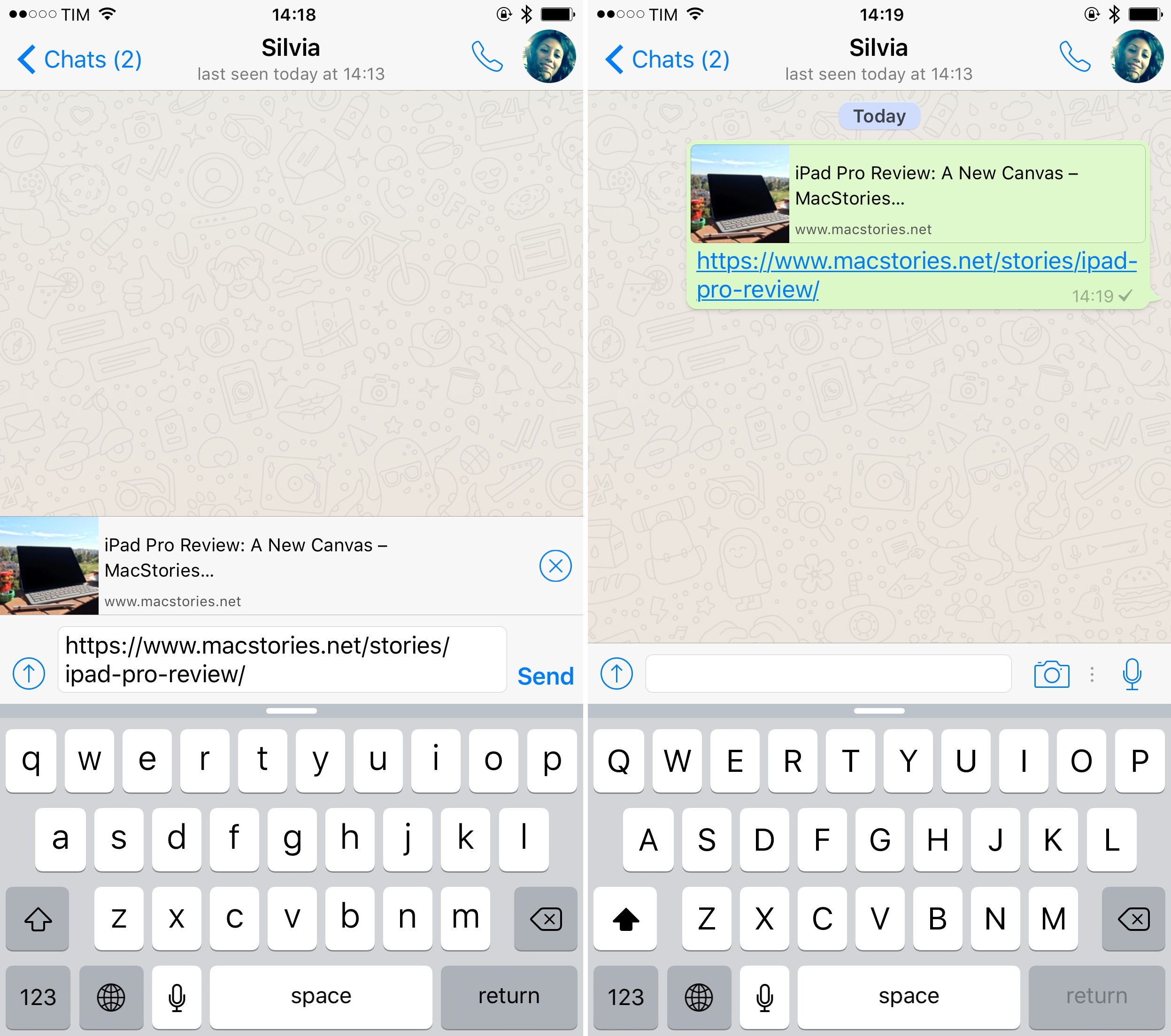 A link preview in the new WhatsApp for iPhone.