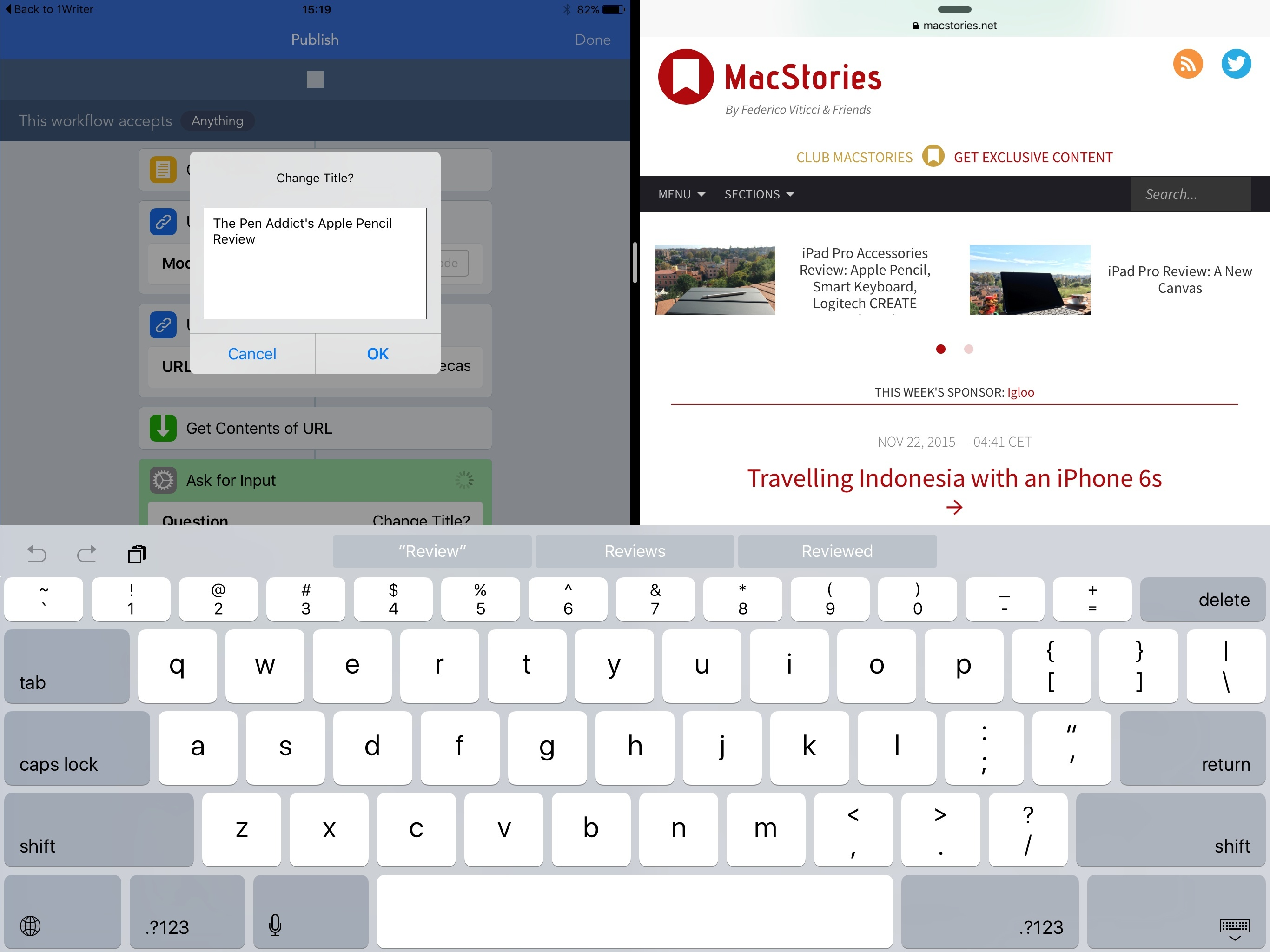 Posting to MacStories with Workflow.