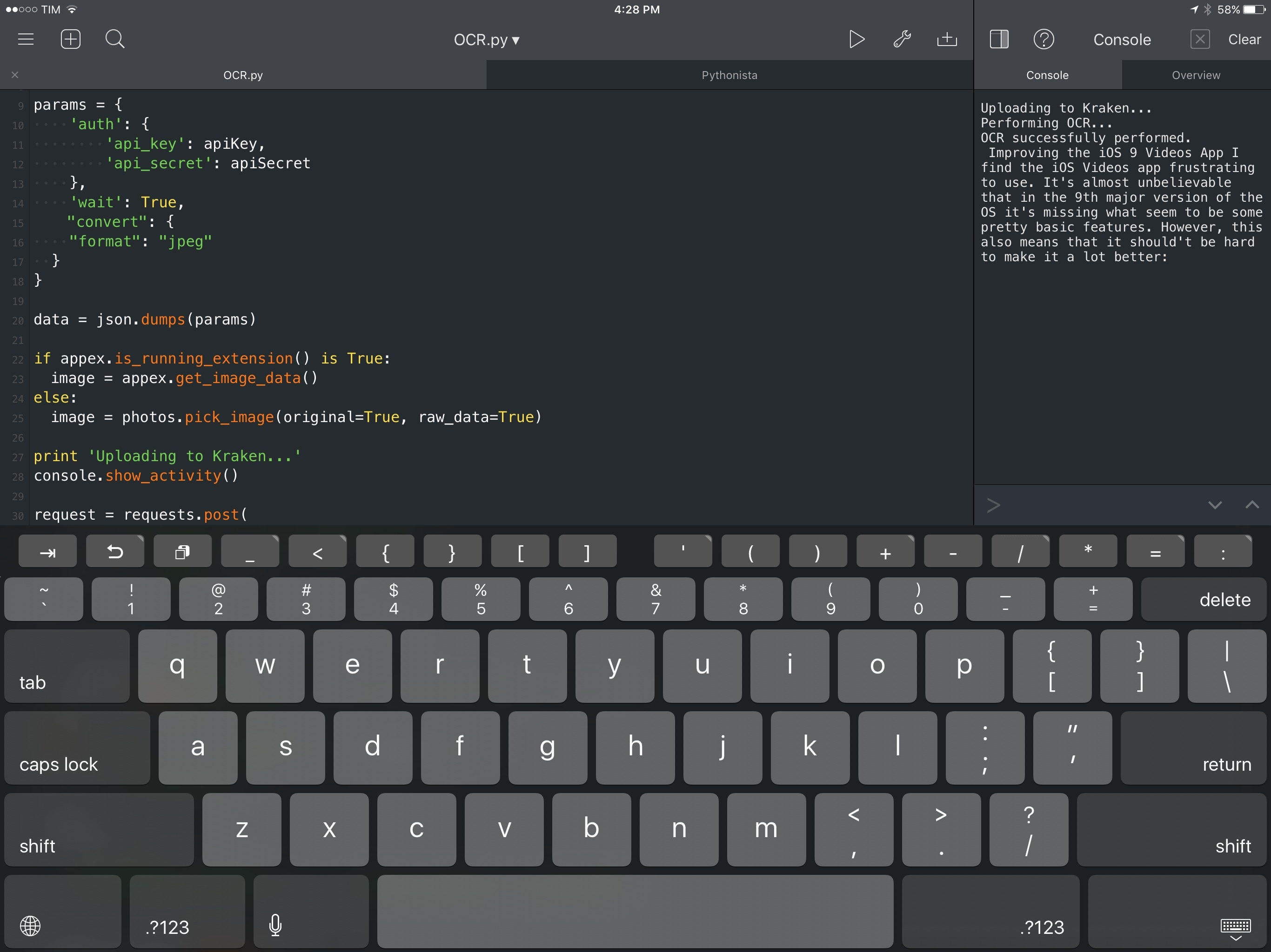 Pythonista 2 0 Brings Action Extension, iPad Pro Support