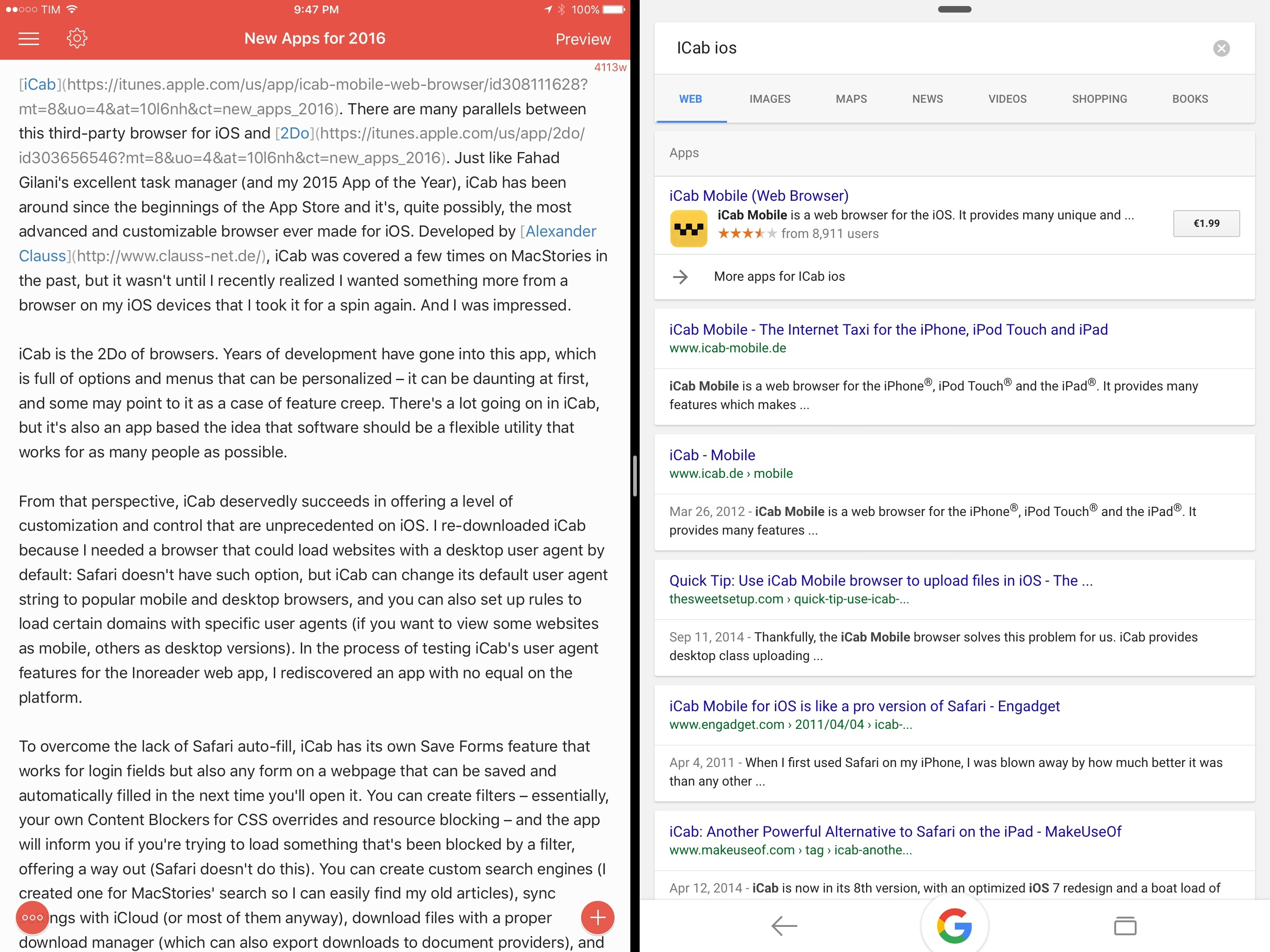 1Writer (left) and Google for iPad.