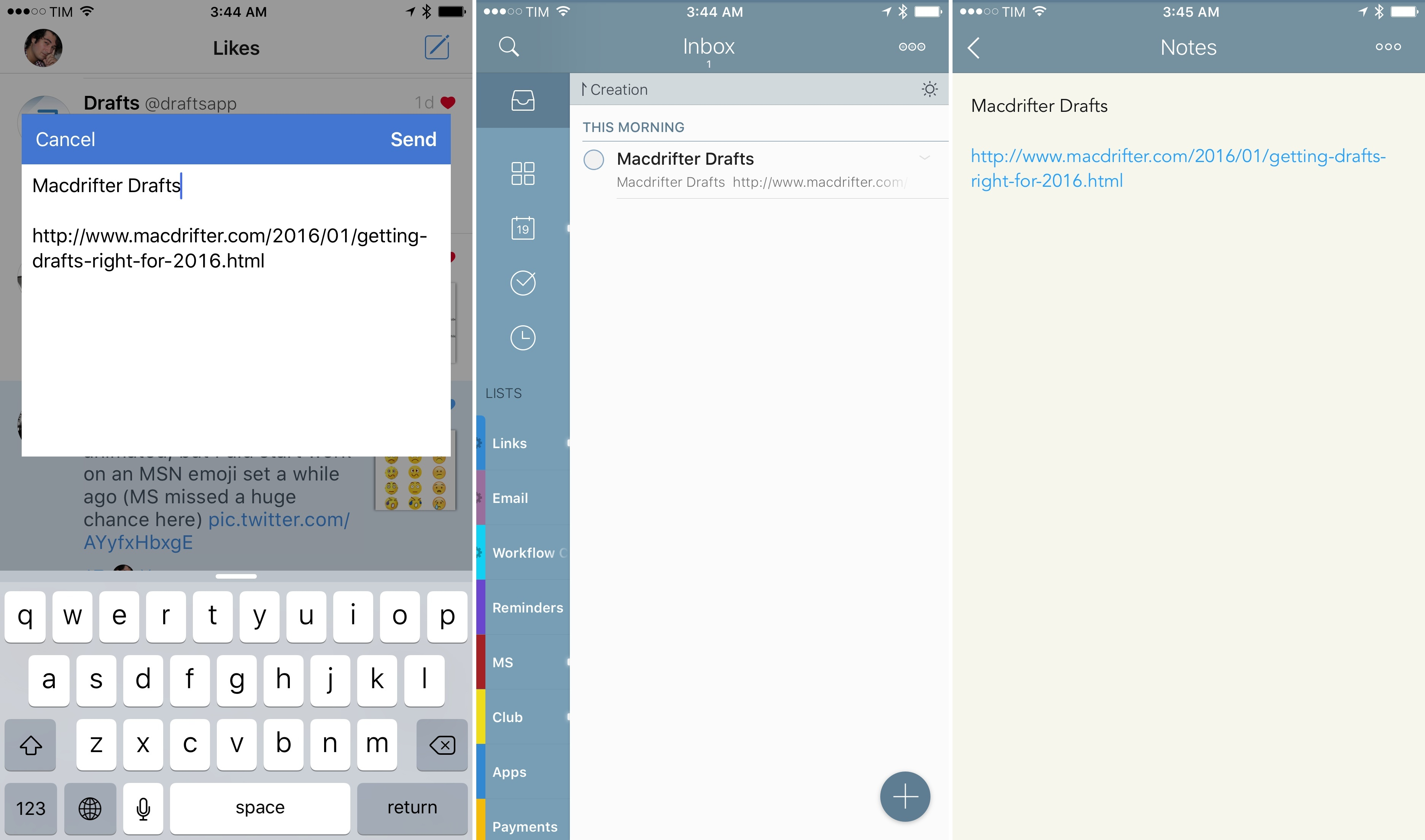 Capturing text anywhere in iOS with the Captio extension and Email to 2Do.