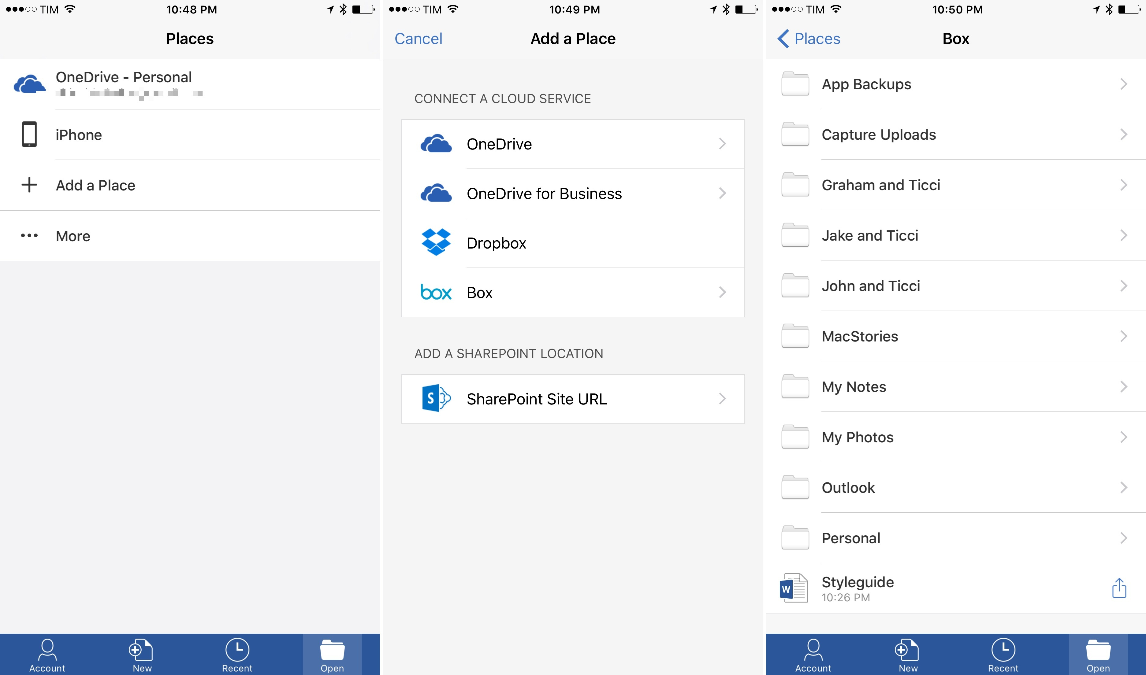 Office for iOS Gets New Storage Integrations