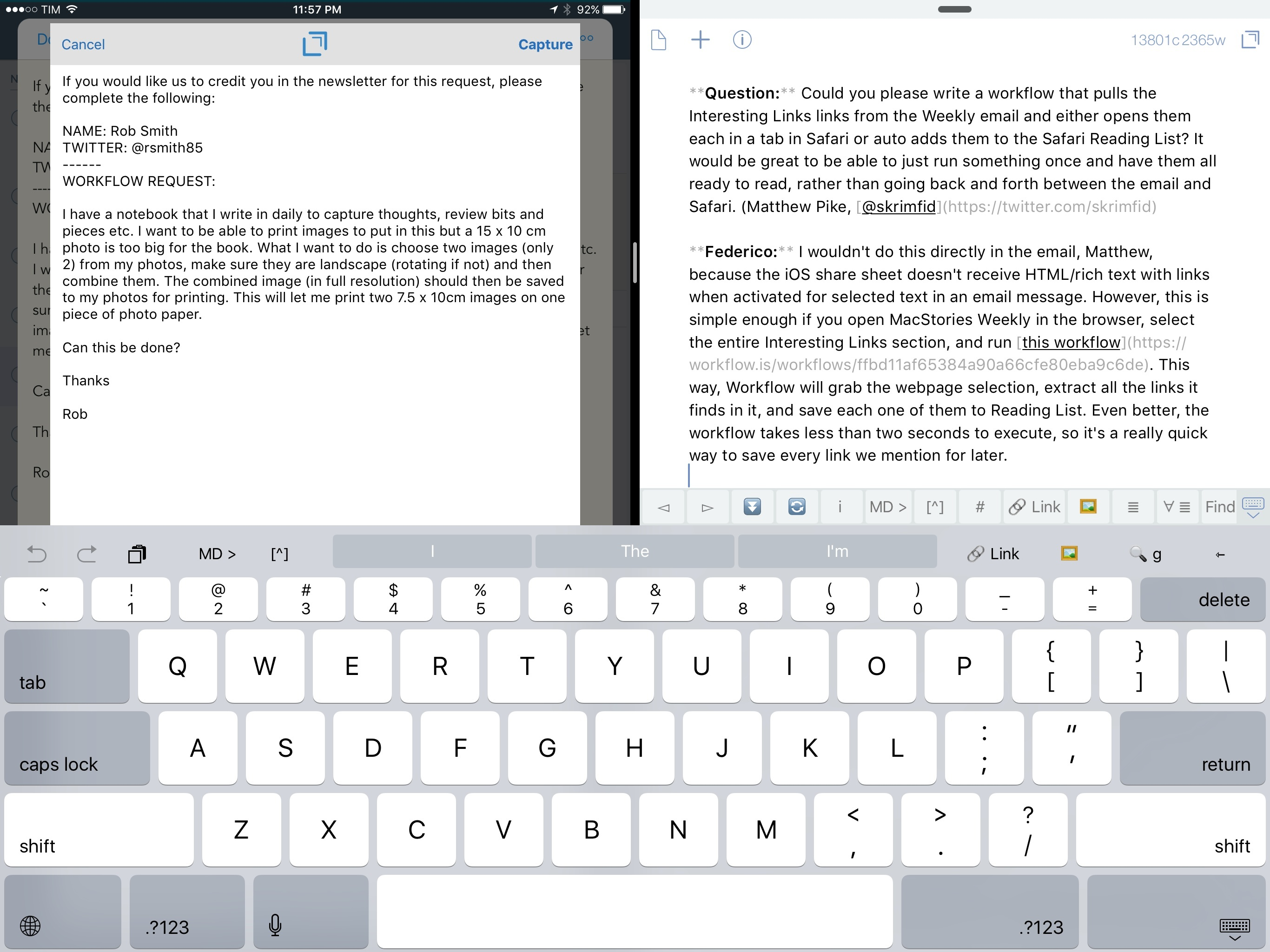 Capturing a reader email with the Drafts extension from 2Do (left).