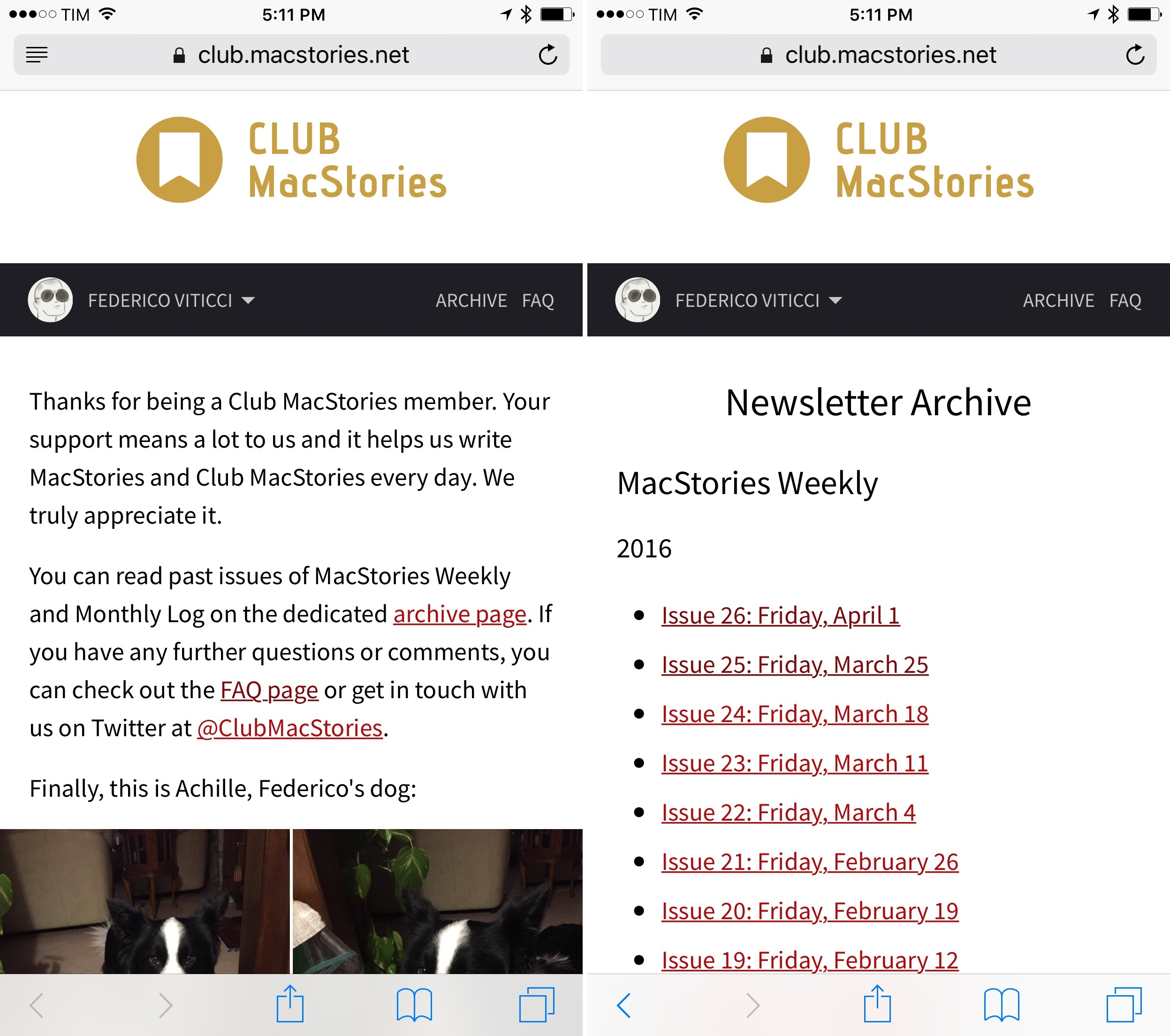 The new Club MacStories web archive.