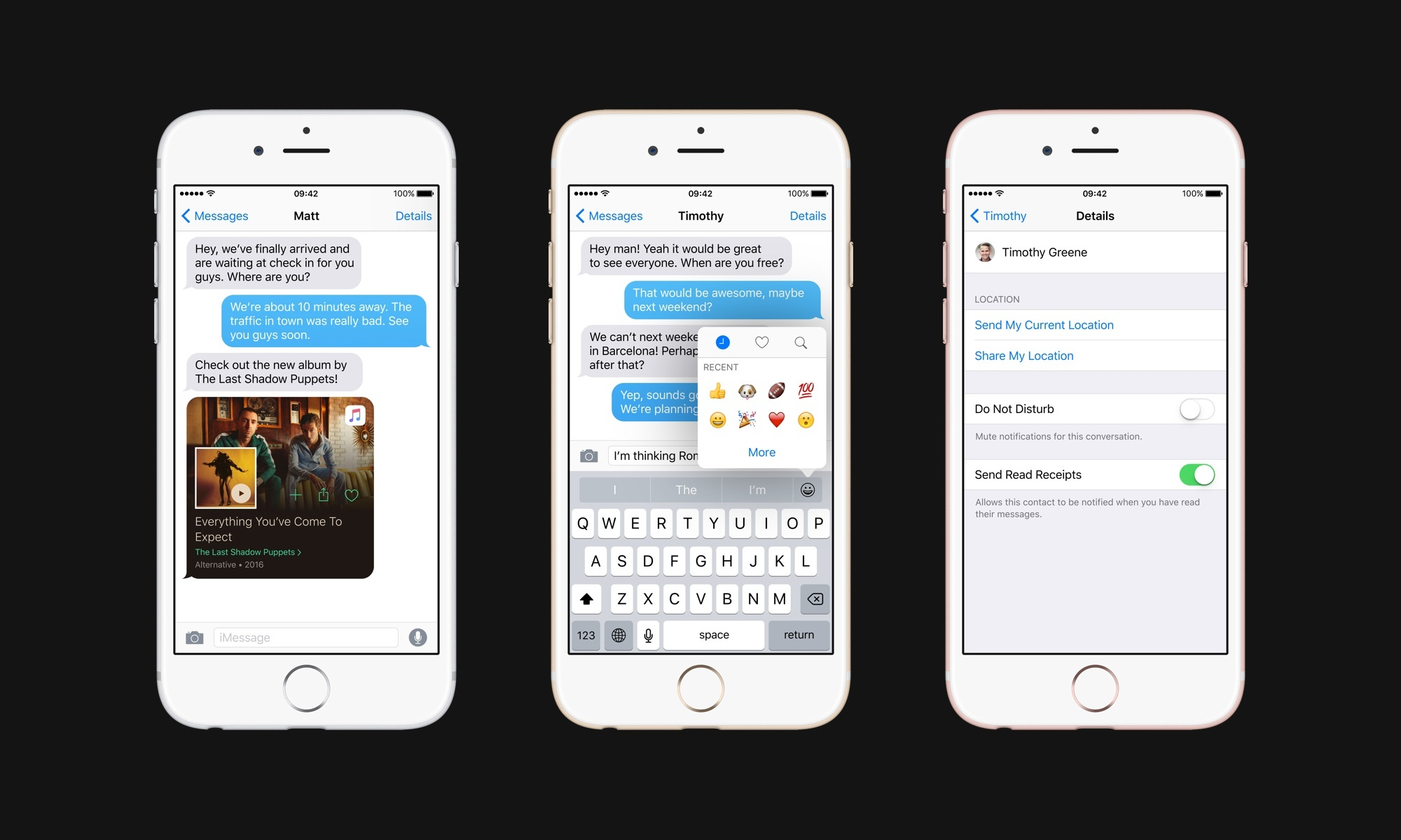 Rich previews, faster emoji input, and granular read receipts in Messages.