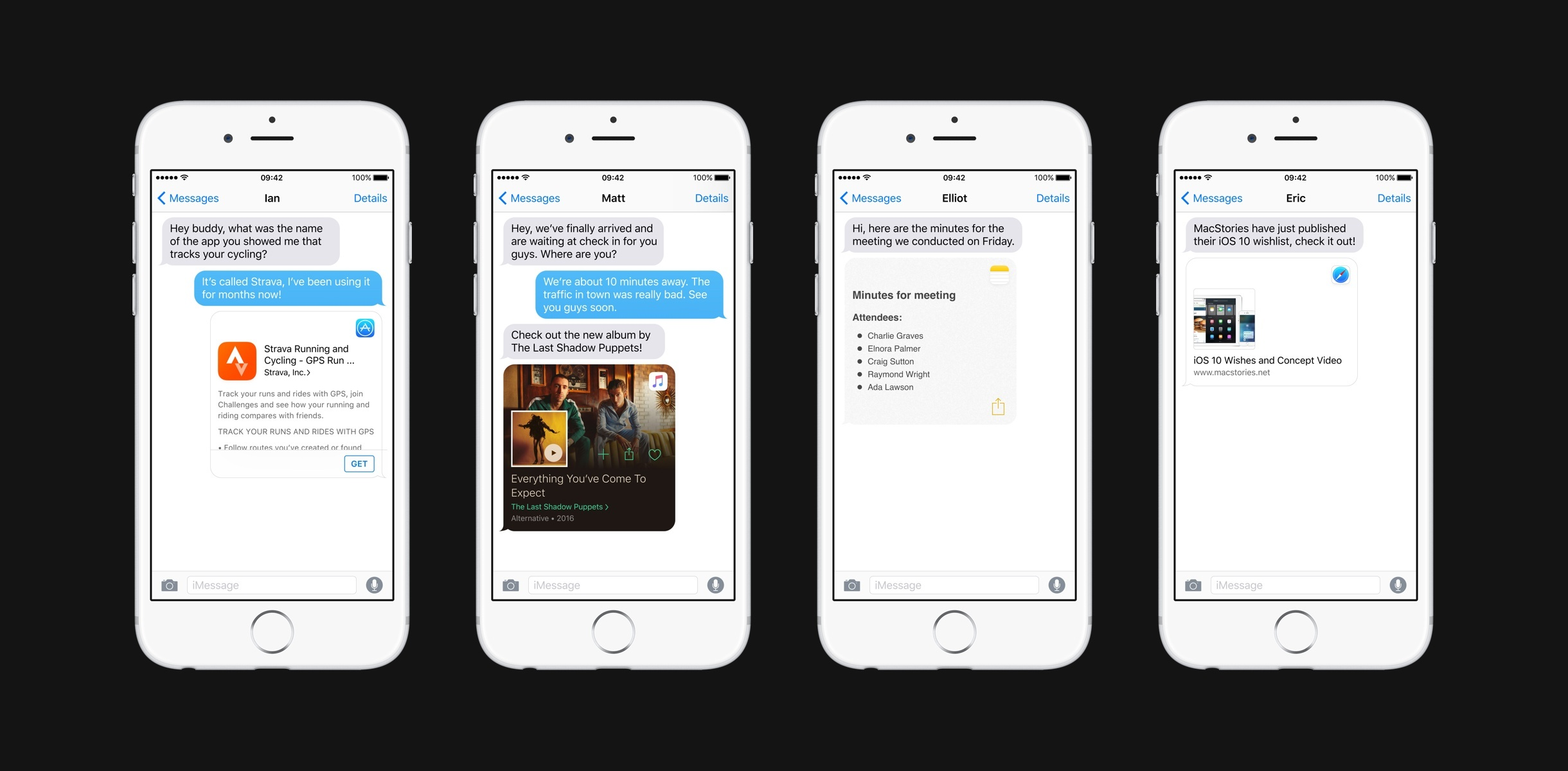Rich previews in Messages for the App Store, Apple Music, Notes, and Safari content.