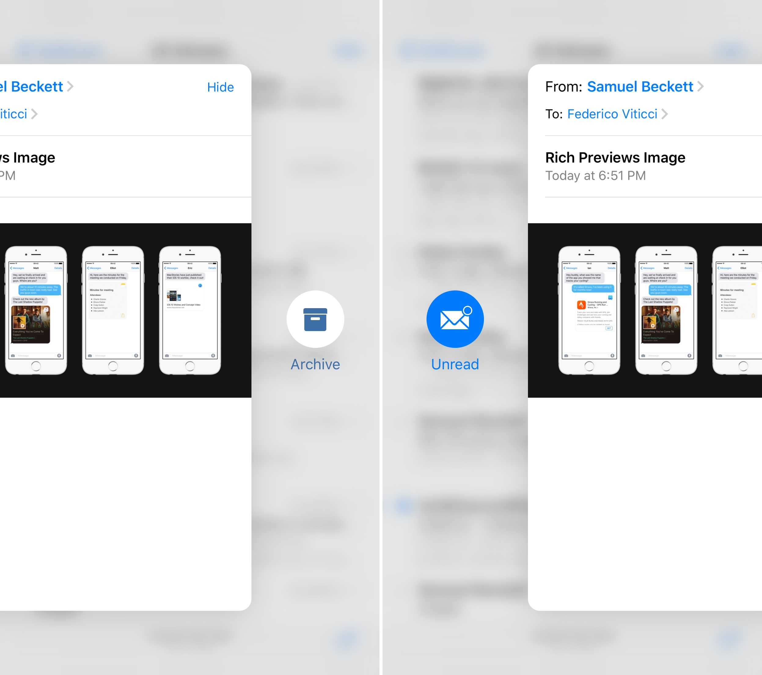 Horizontal peek actions in Mail for iOS 9.