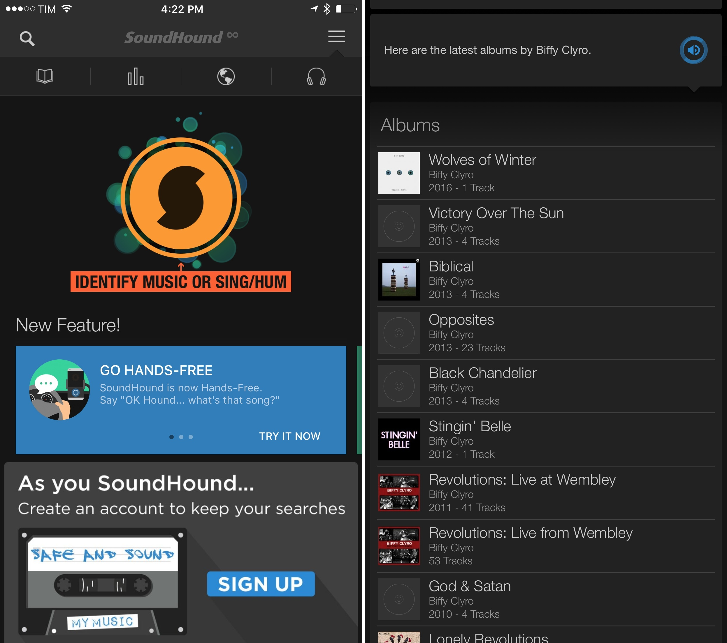 The front page of SoundHound is...busy.