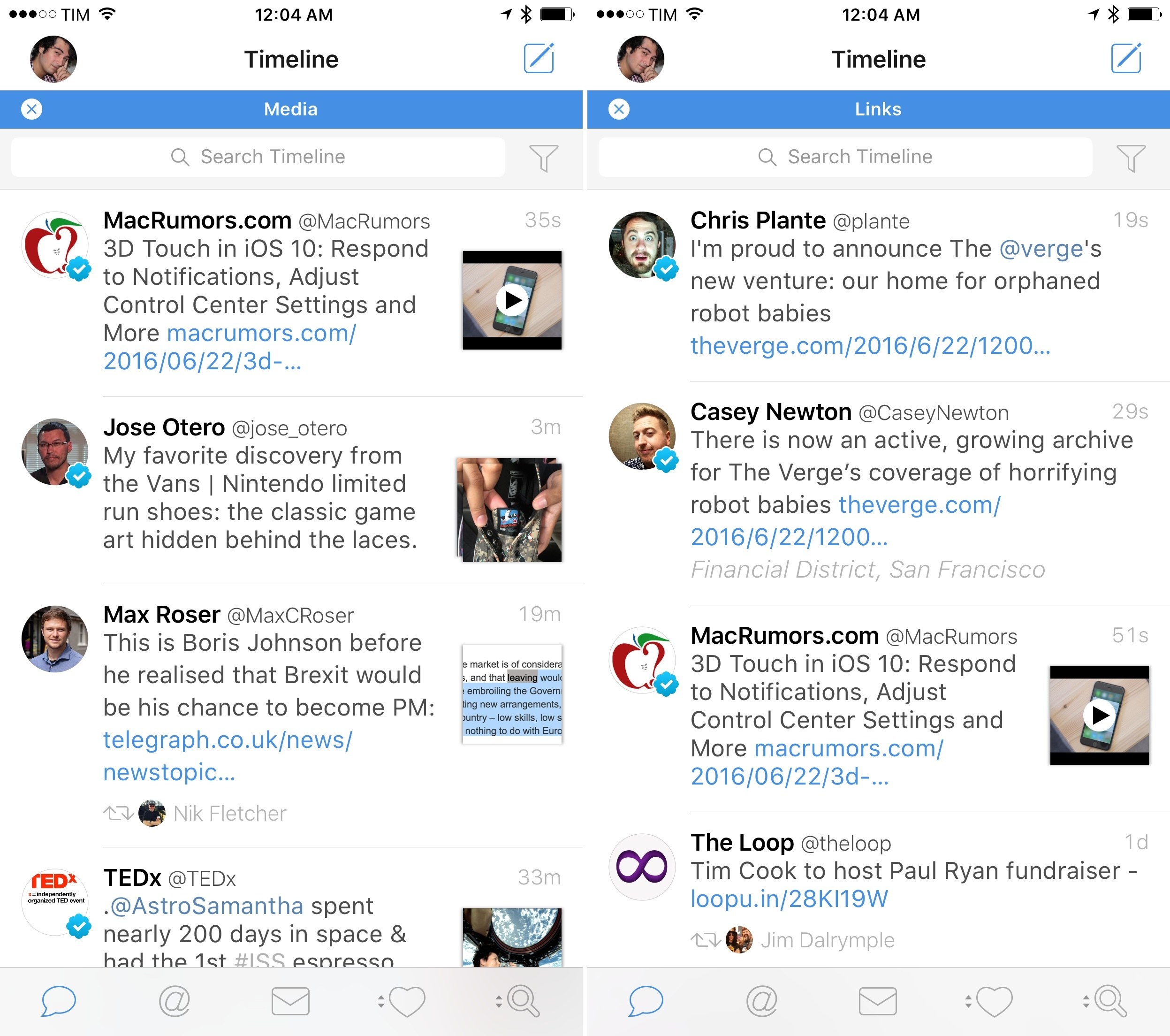 Media and Links filters in Tweetbot 4.4.