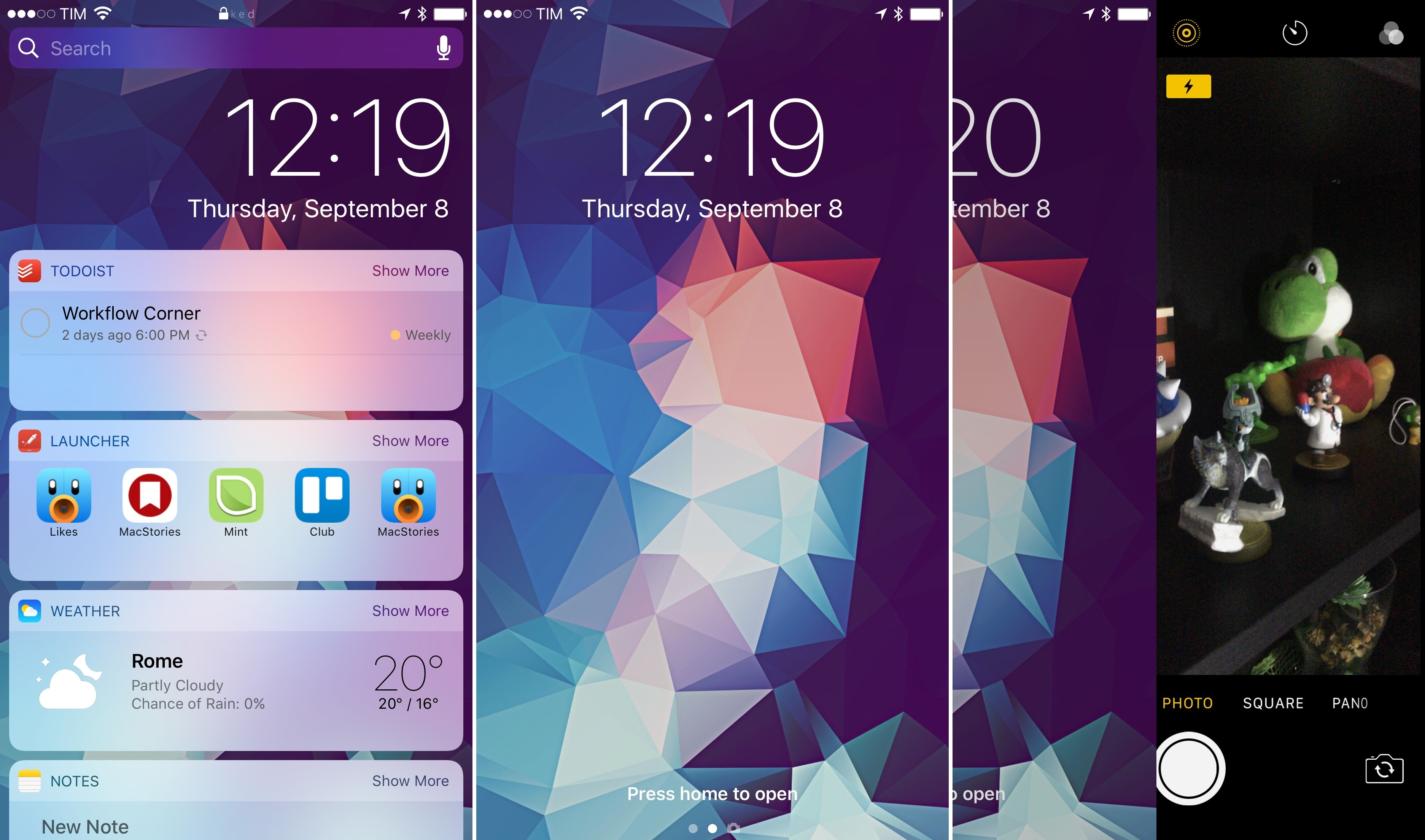 The Lock screen's new horizontal hierarchy, with widgets on the left.