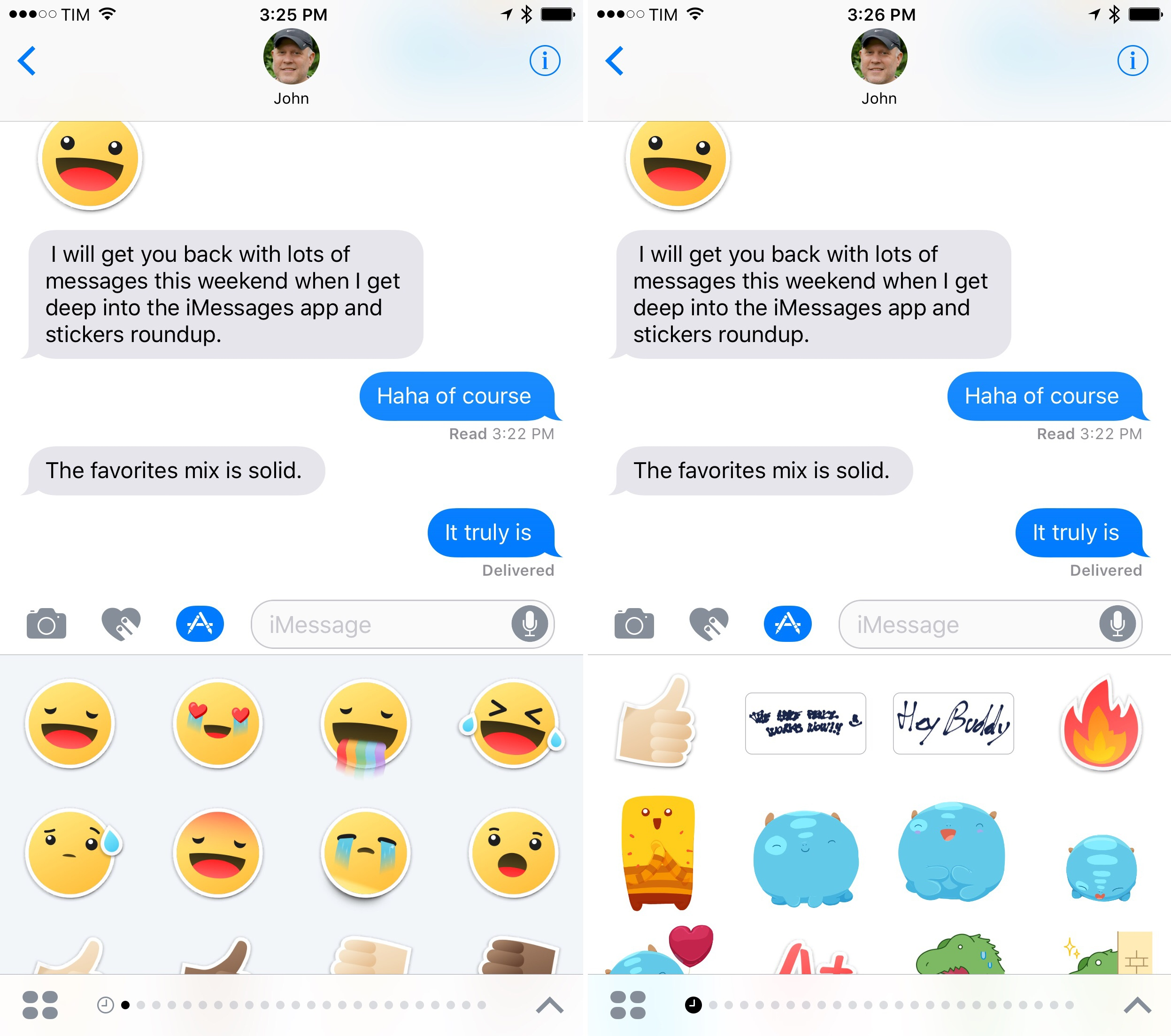 Opening the last used iMessage app (left) and the Recents page (right).