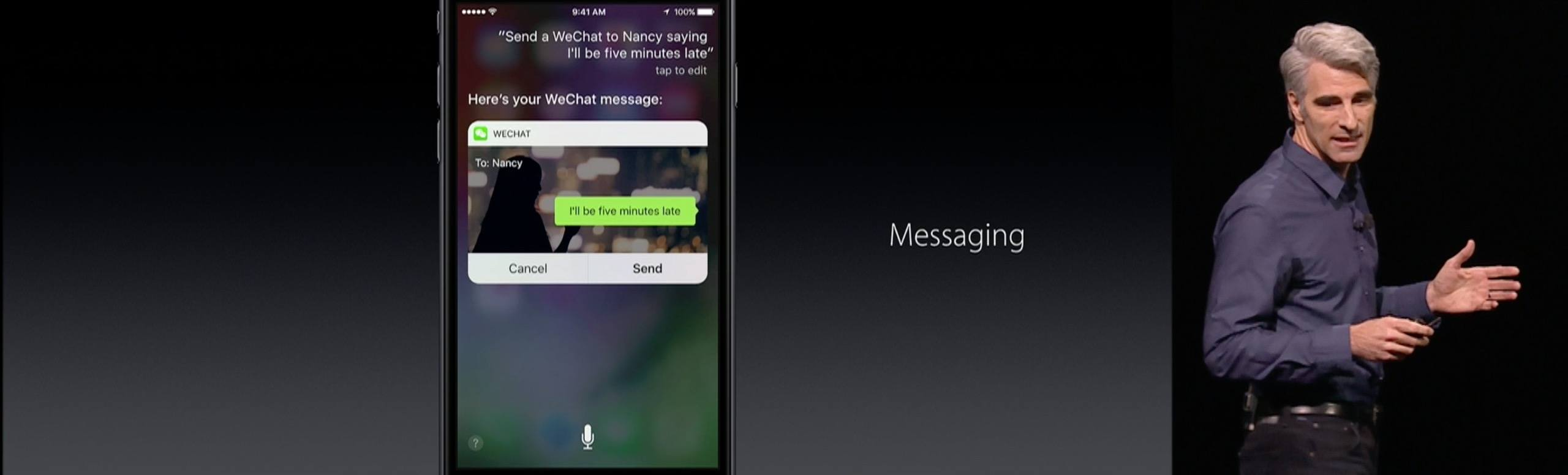 Craig Federighi with an example of WeChat in Siri.