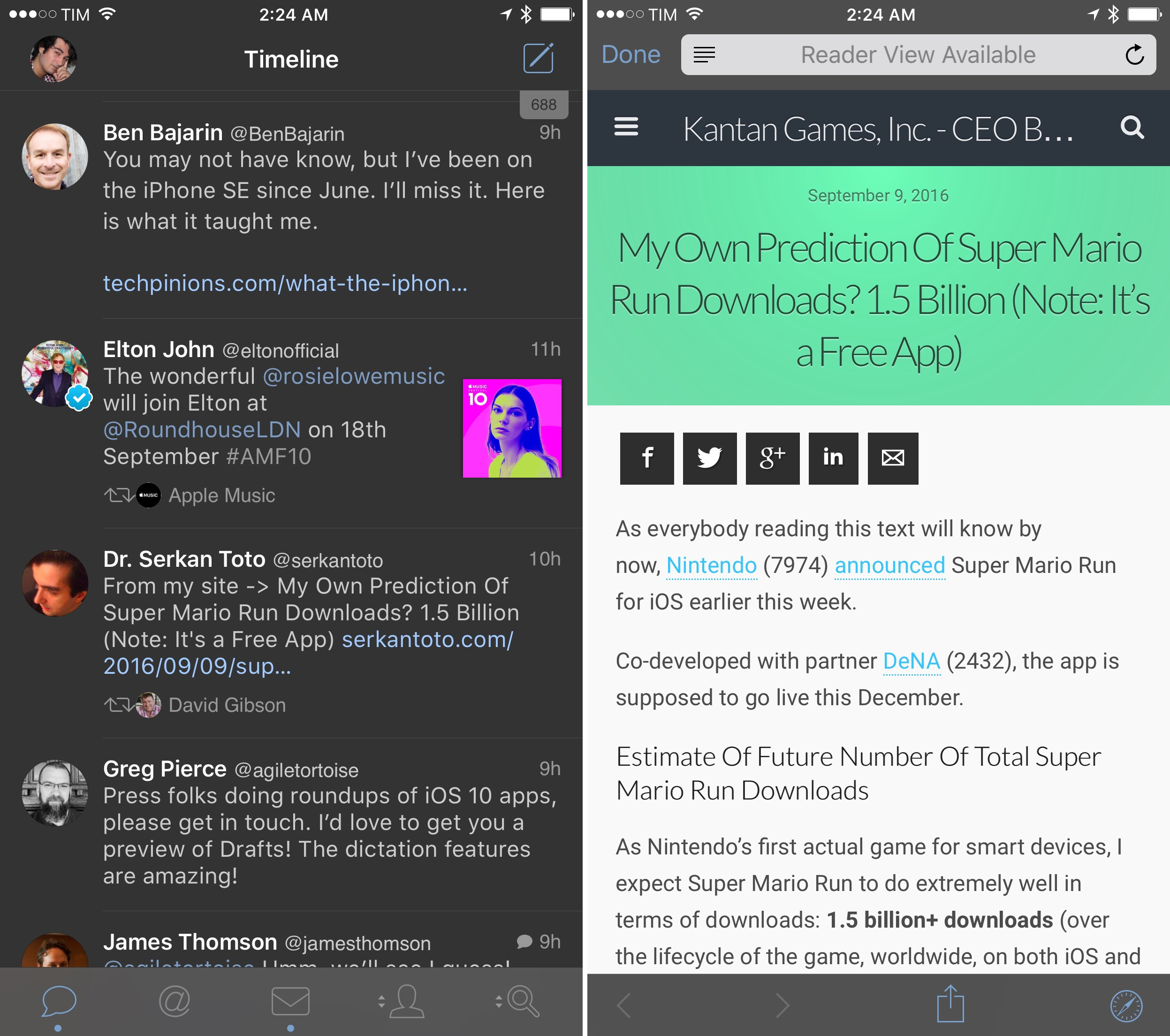 A customized Safari View Controller in Tweetbot for iOS 10, matching the dark theme.