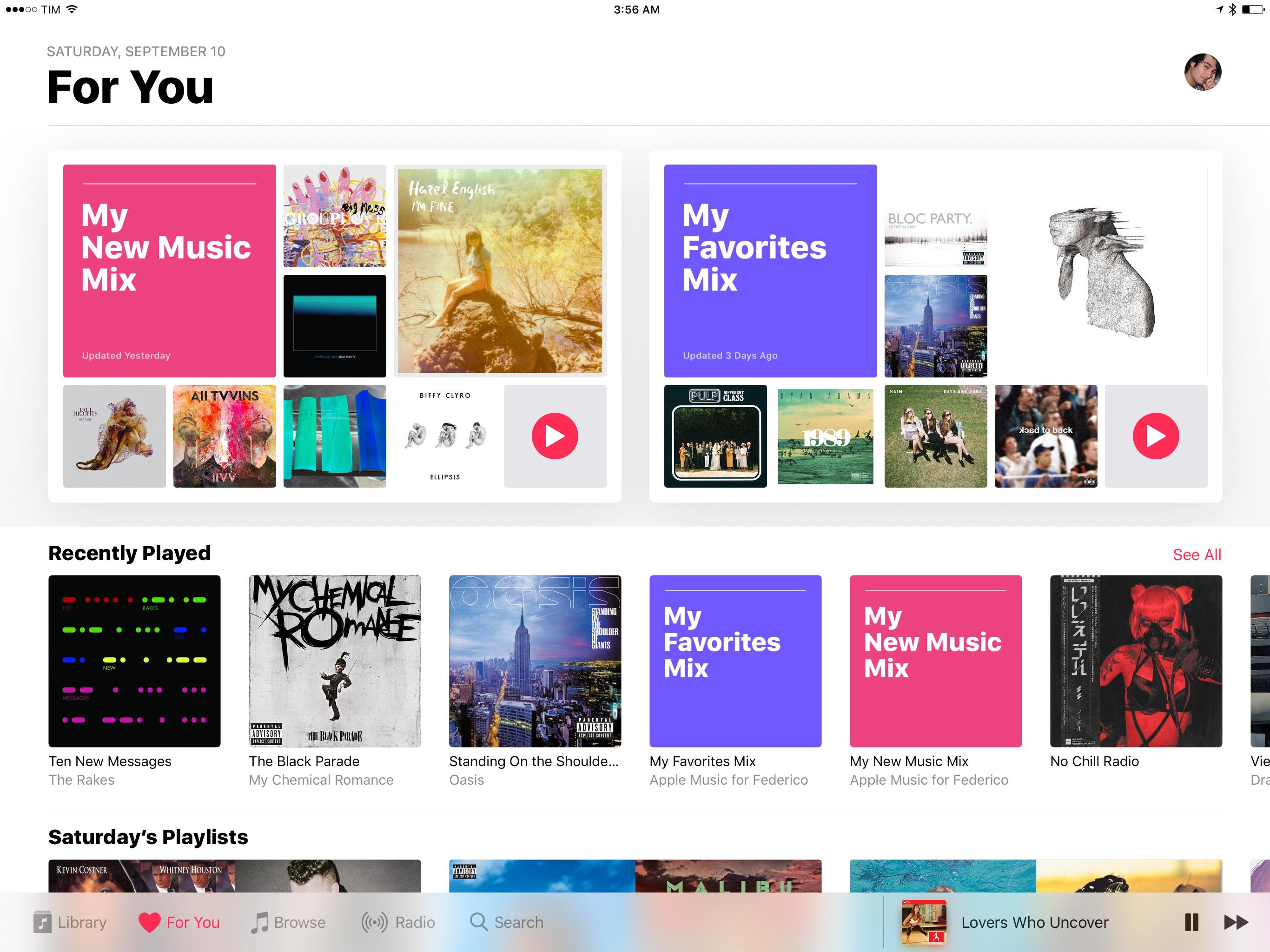 Apple Music's For You page on the iPad.