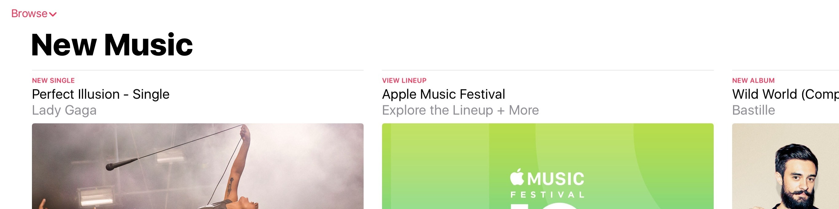A new look for title bars in Apple Music.