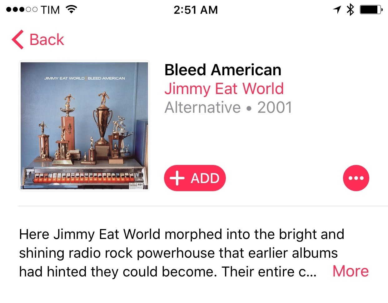 Album titles no longer sit in the title bar – they're part of the content itself.