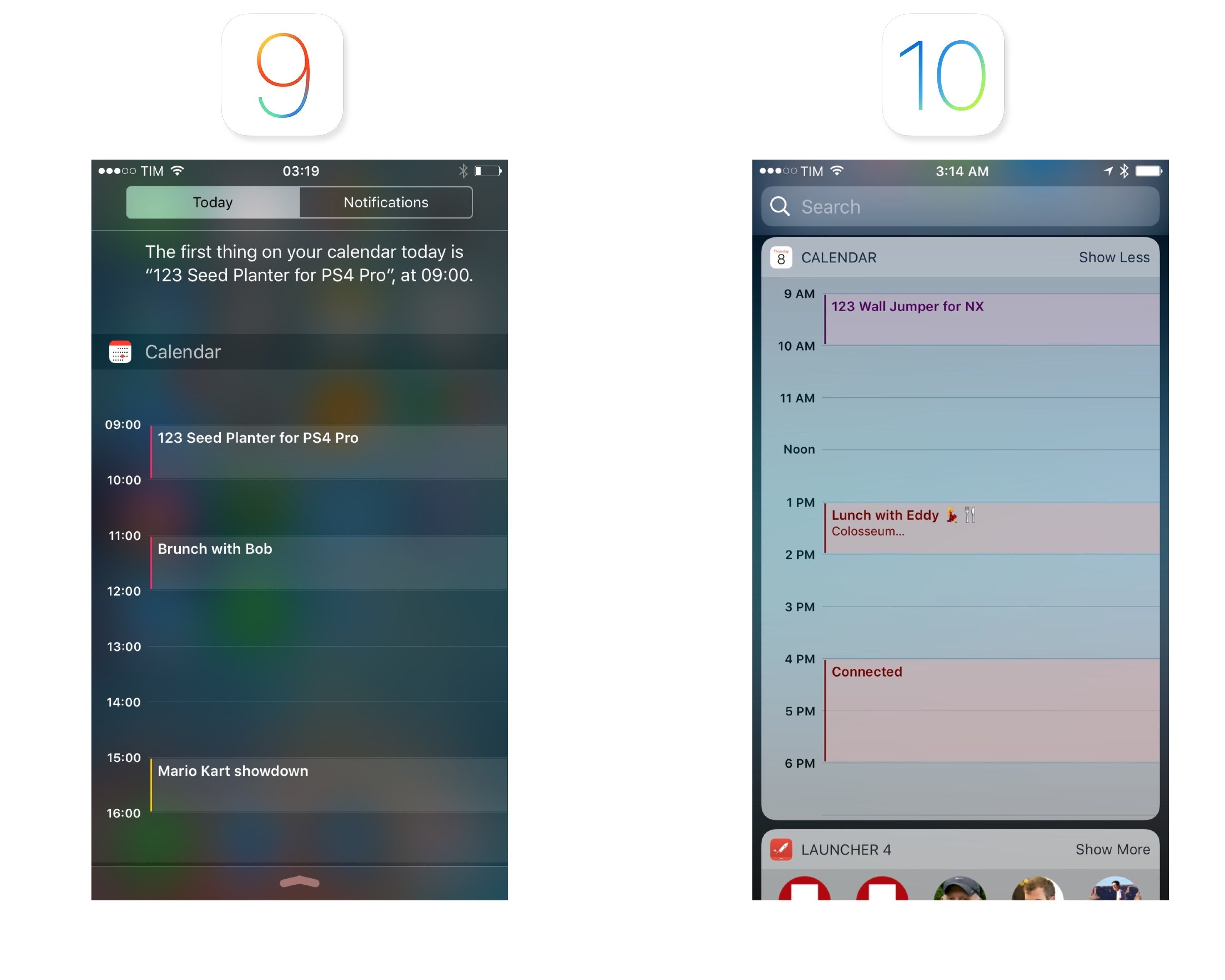 The Calendar widget is more contextual on iOS 10.