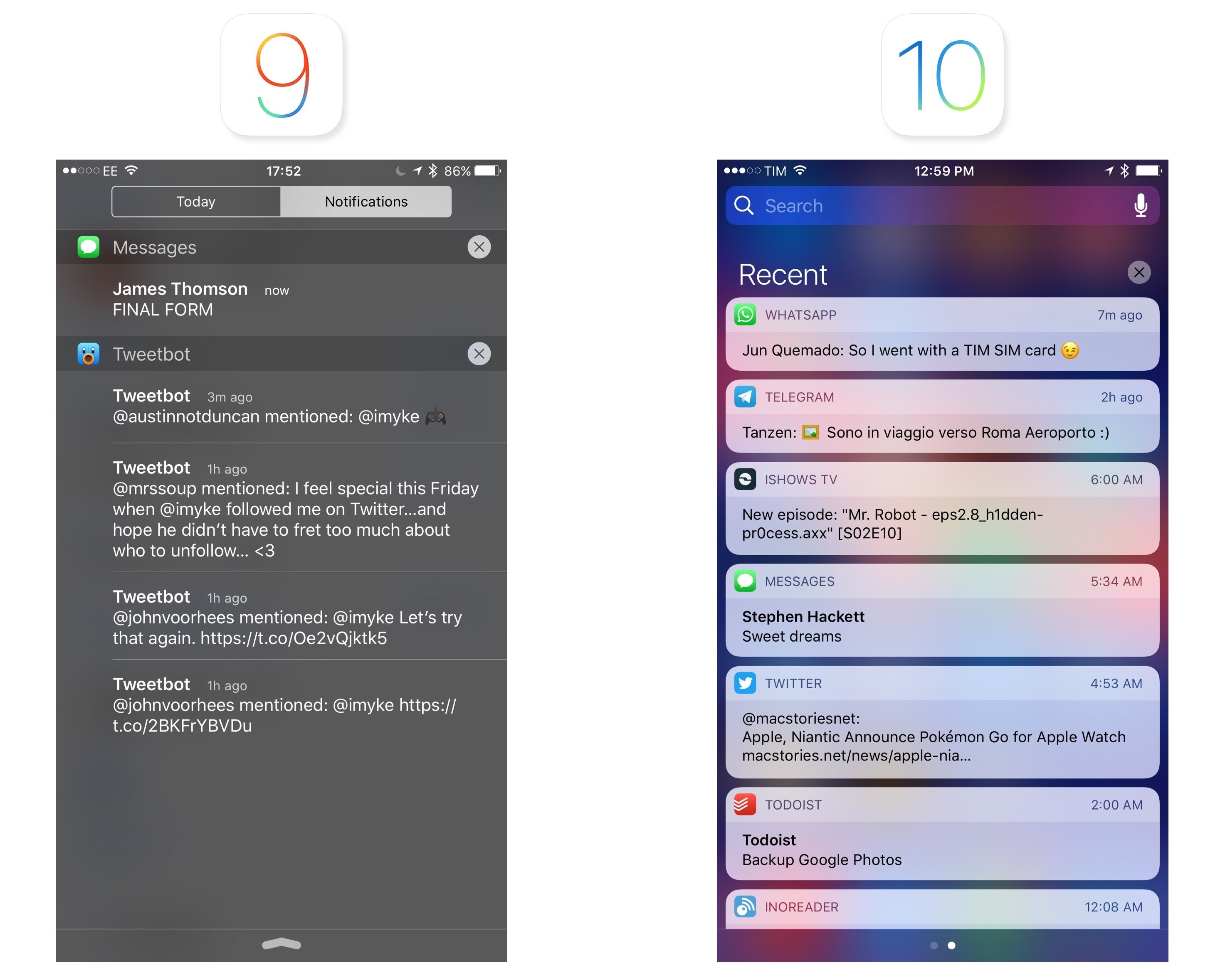 Notifications iOS 9 and 10.