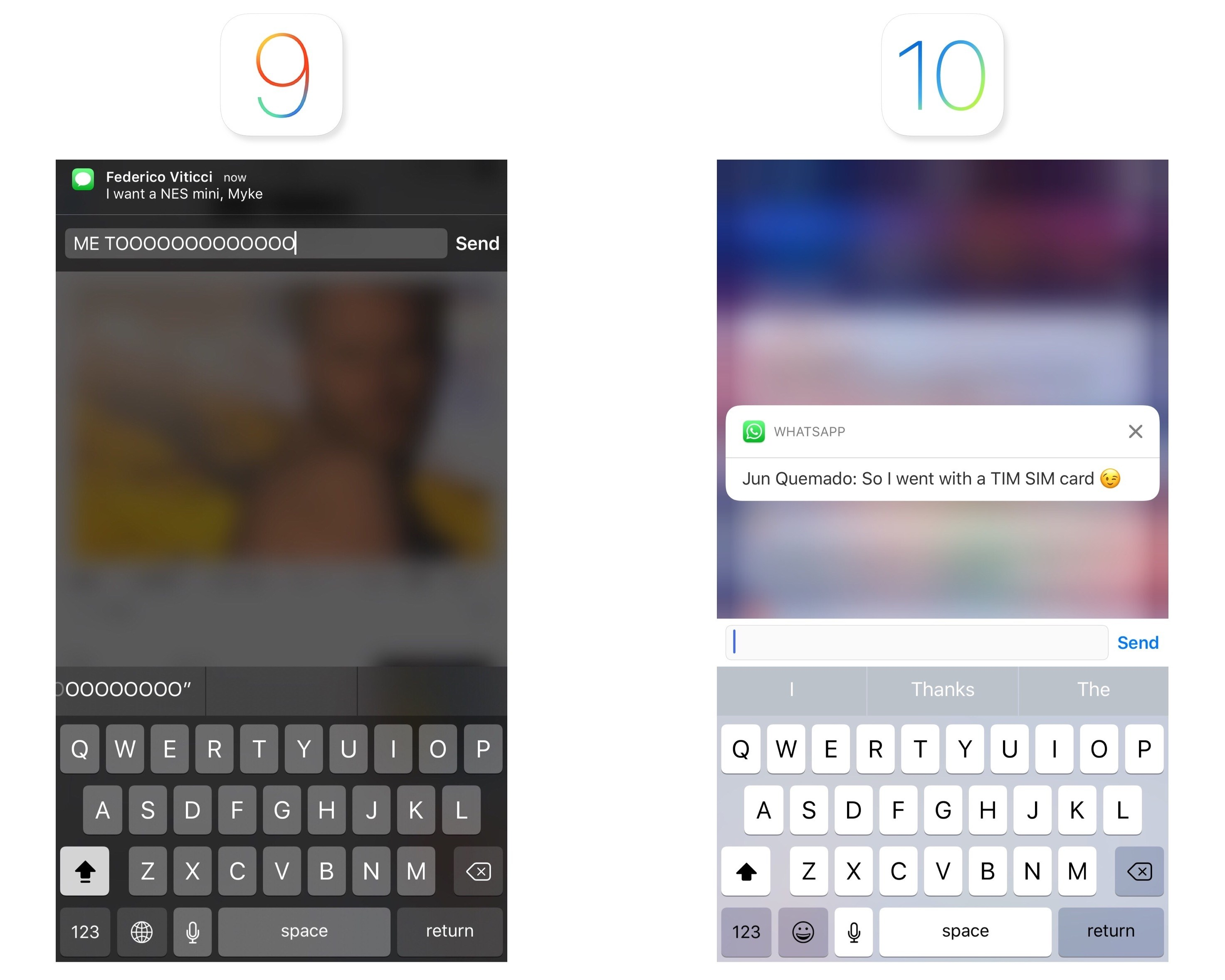 Quick replies in iOS 9 and iOS 10.