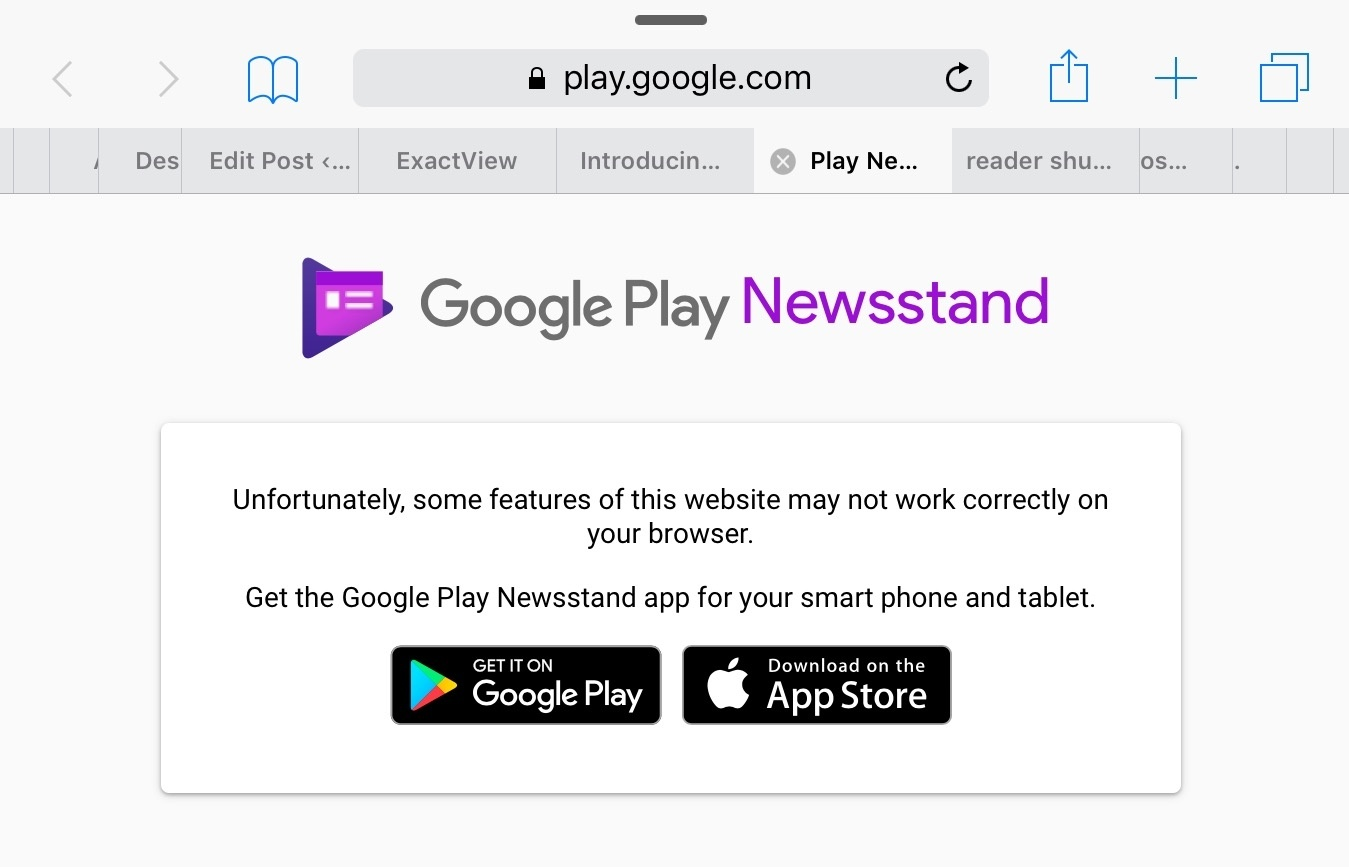 Newsstand's web app does not work on Safari for iOS or macOS.