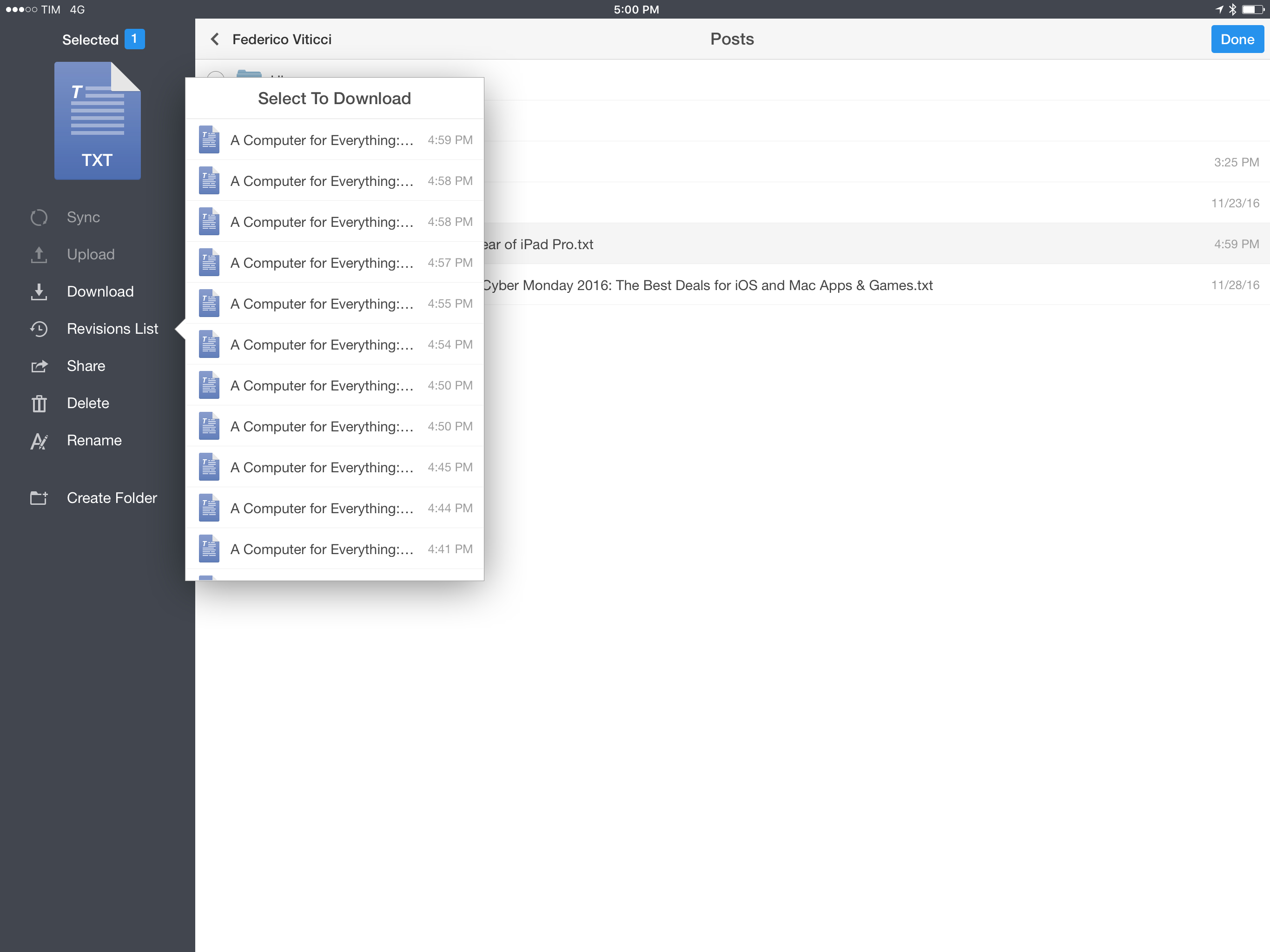 <p>Dropbox file revisions in Documents.</p>