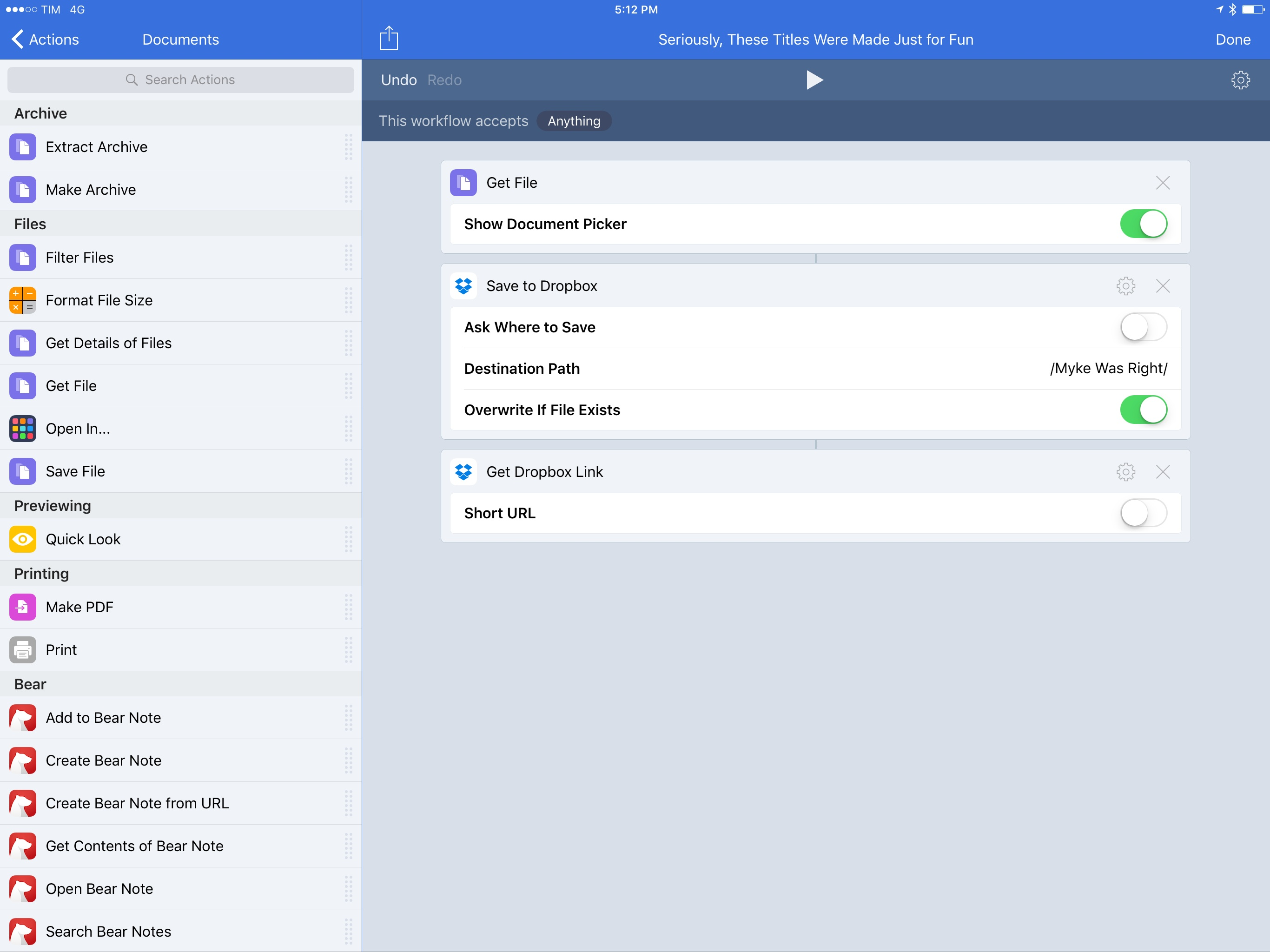 Dropbox actions in Workflow grant you more freedom than iCloud Drive.