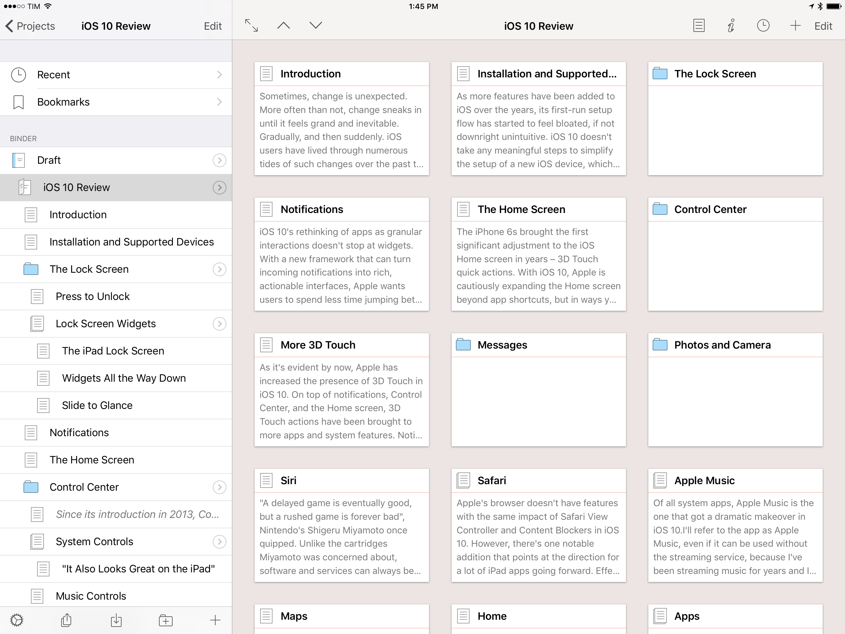 MY iOS 10 review project in Scrivener.