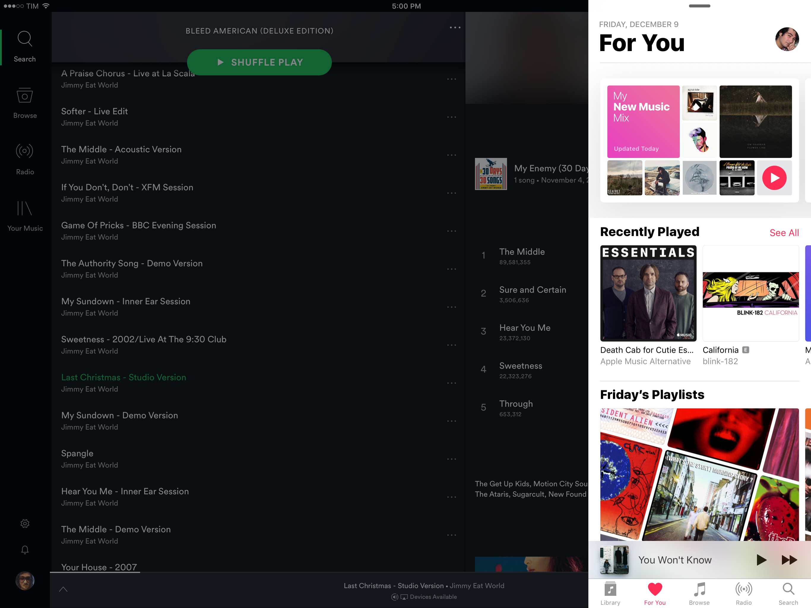 Apple Music supports multitasking; Spotify for iPad doesn't.
