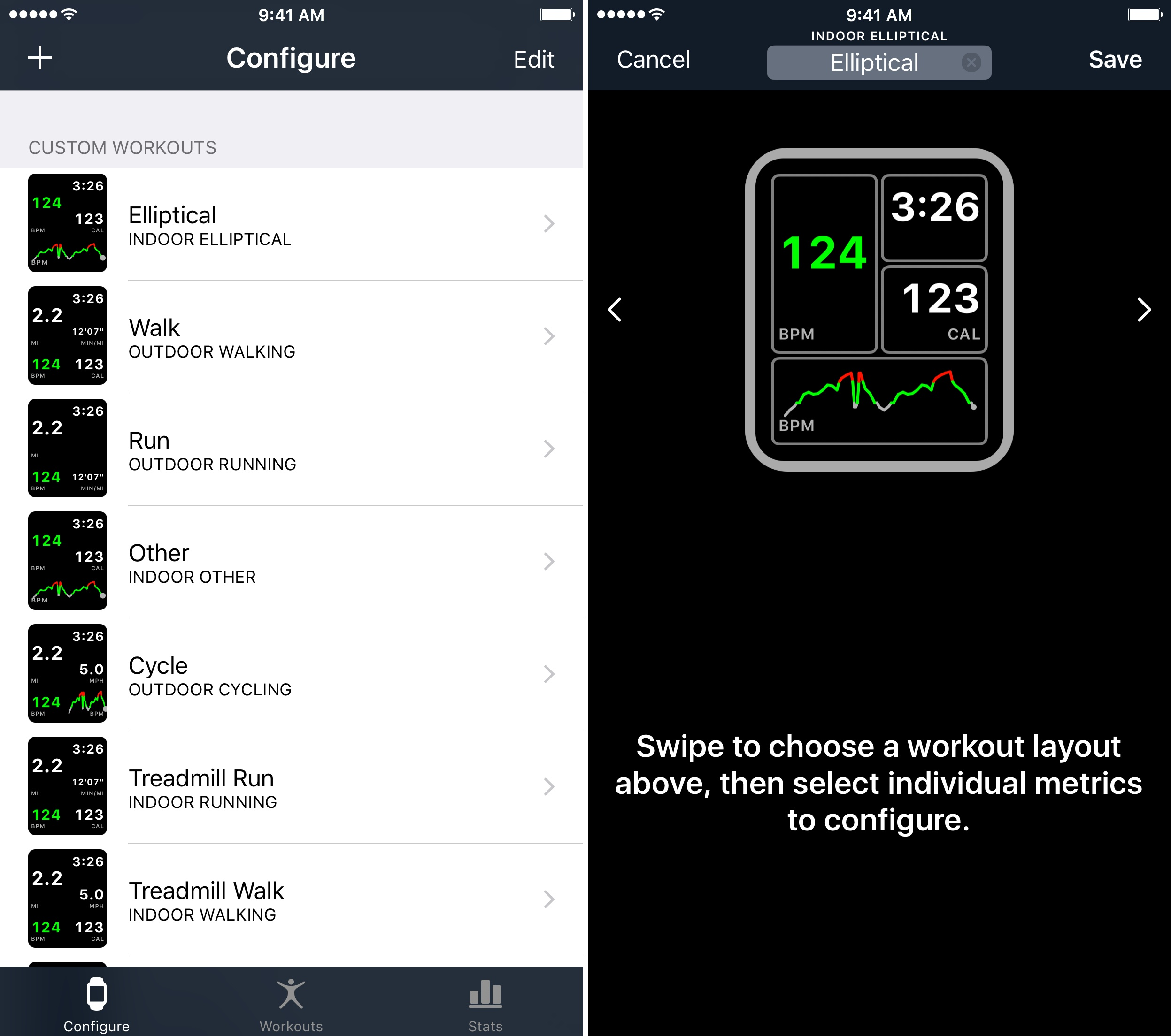 Workouts++ lets you customize the layout of real-time statistics tracking on your Apple Watch.