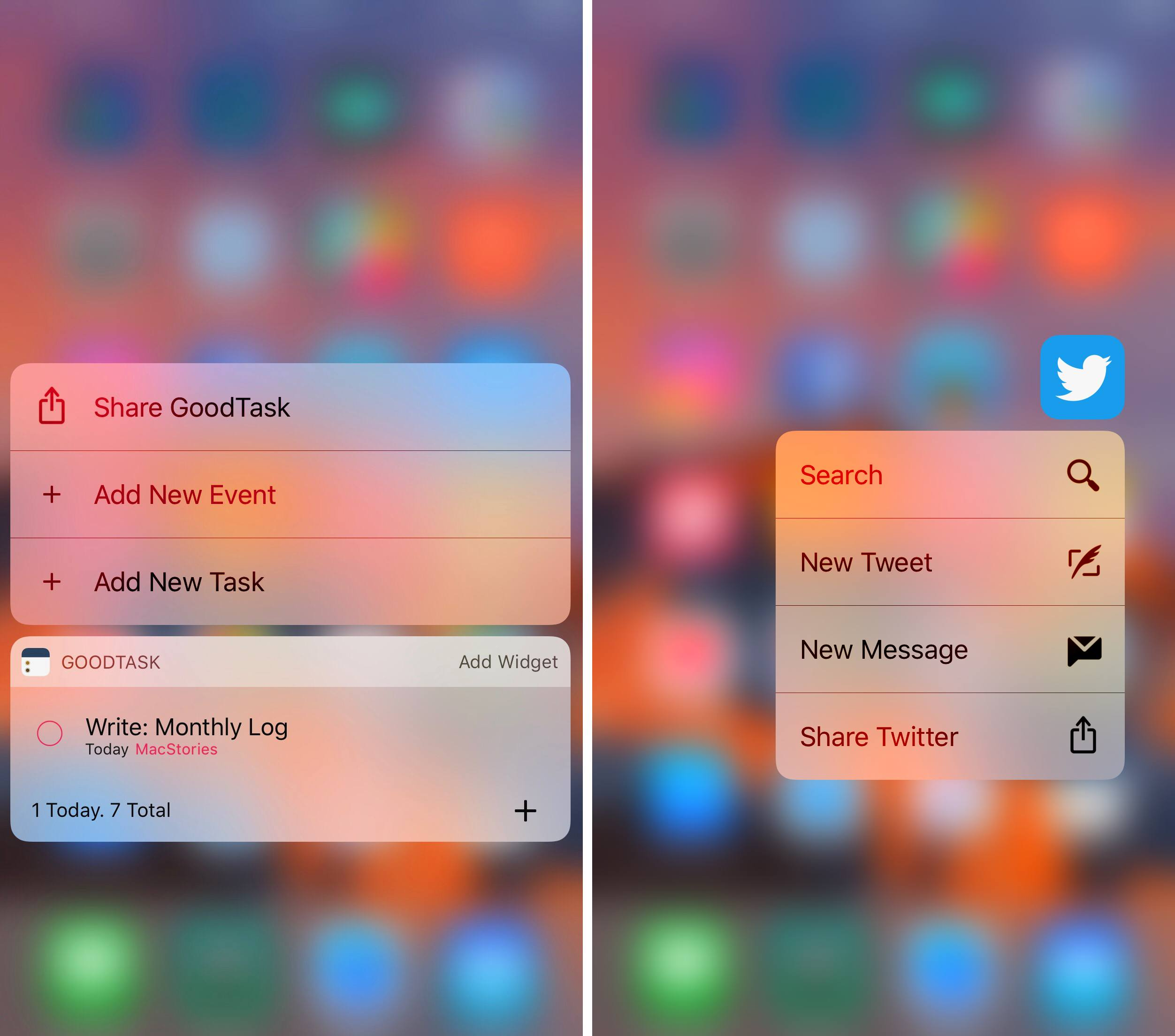 Left: quick actions with a widget; Right: without a widget.