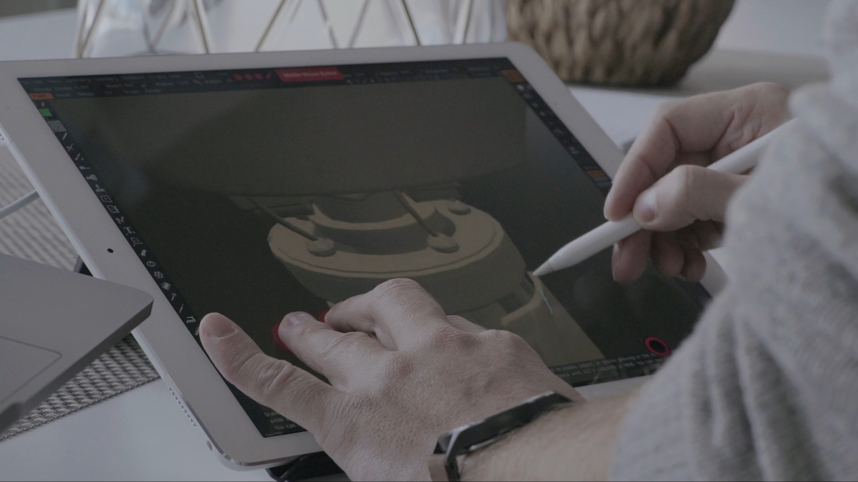 Two-handed workflows made possible by customizable gestures.