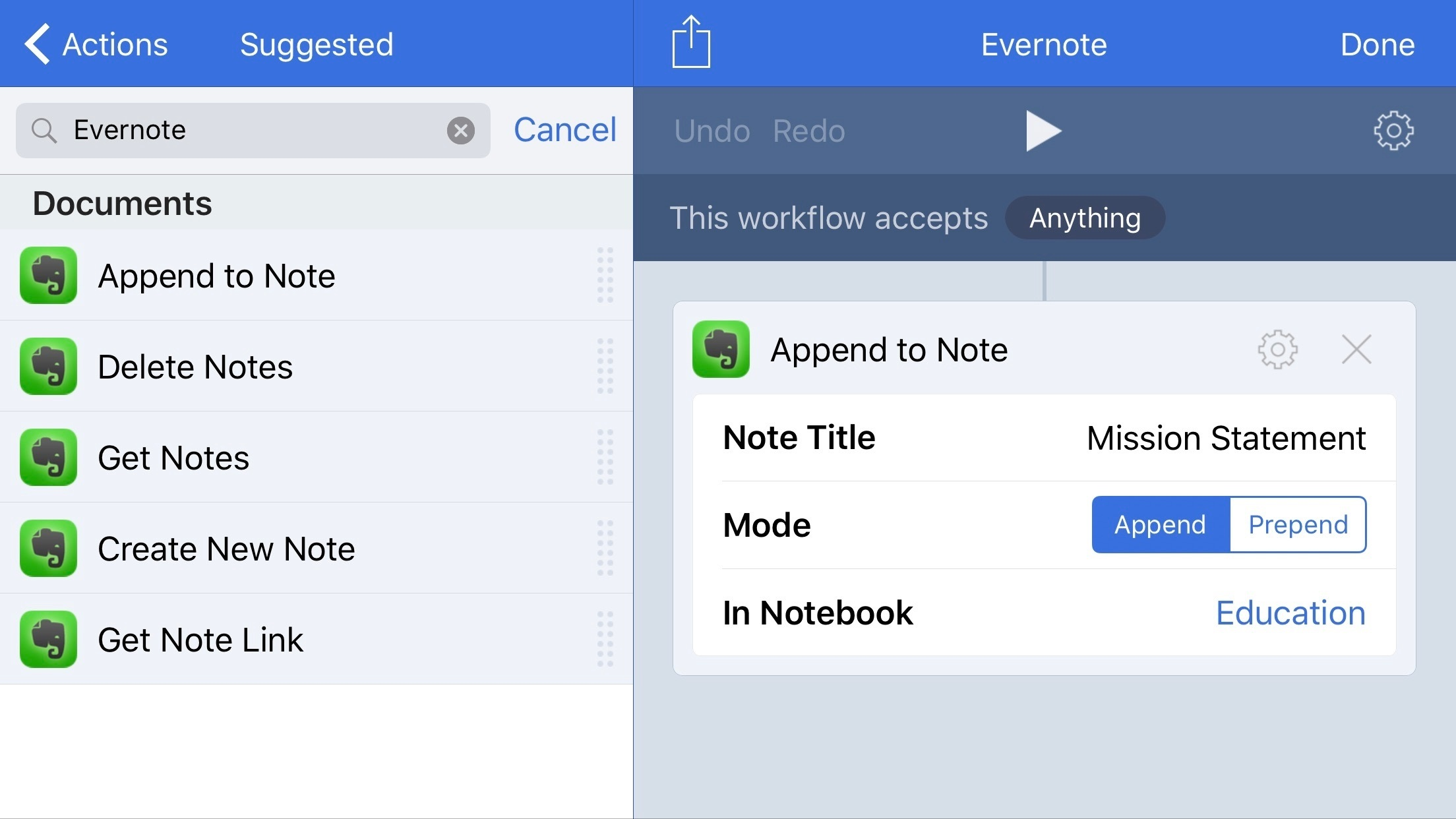 Evernote's Workflow actions.