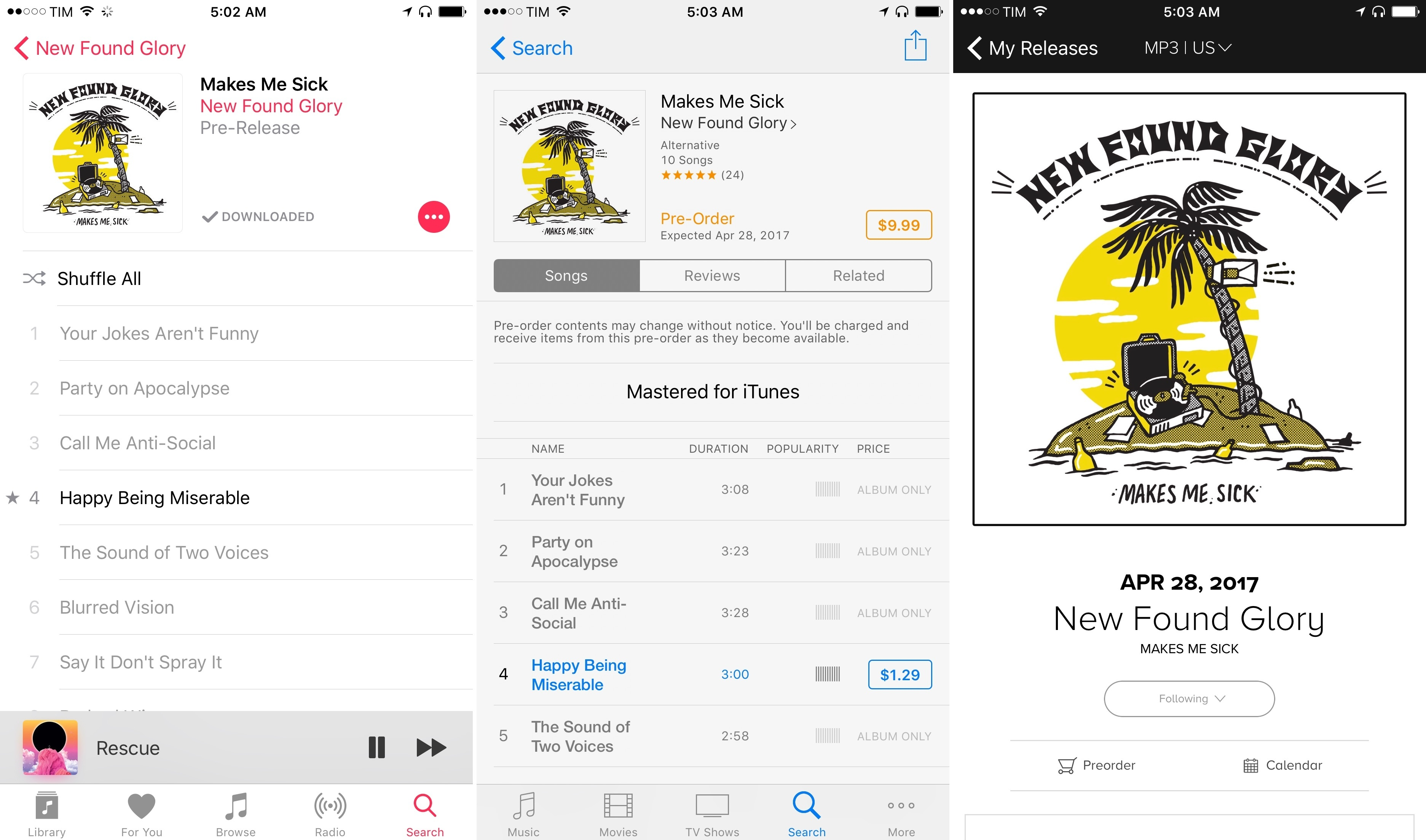 Comparing a pre-release album between Apple Music, iTunes Store, and Record Bird.