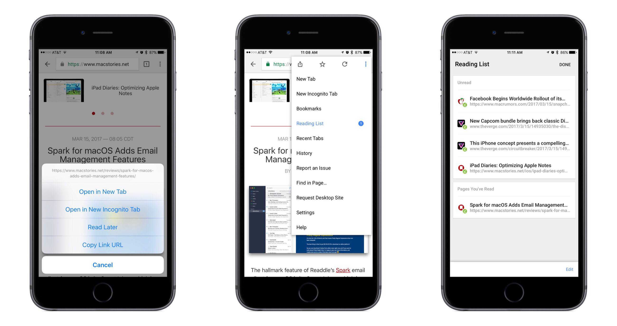 photo image Google Chrome for iOS Adds Read Later Feature