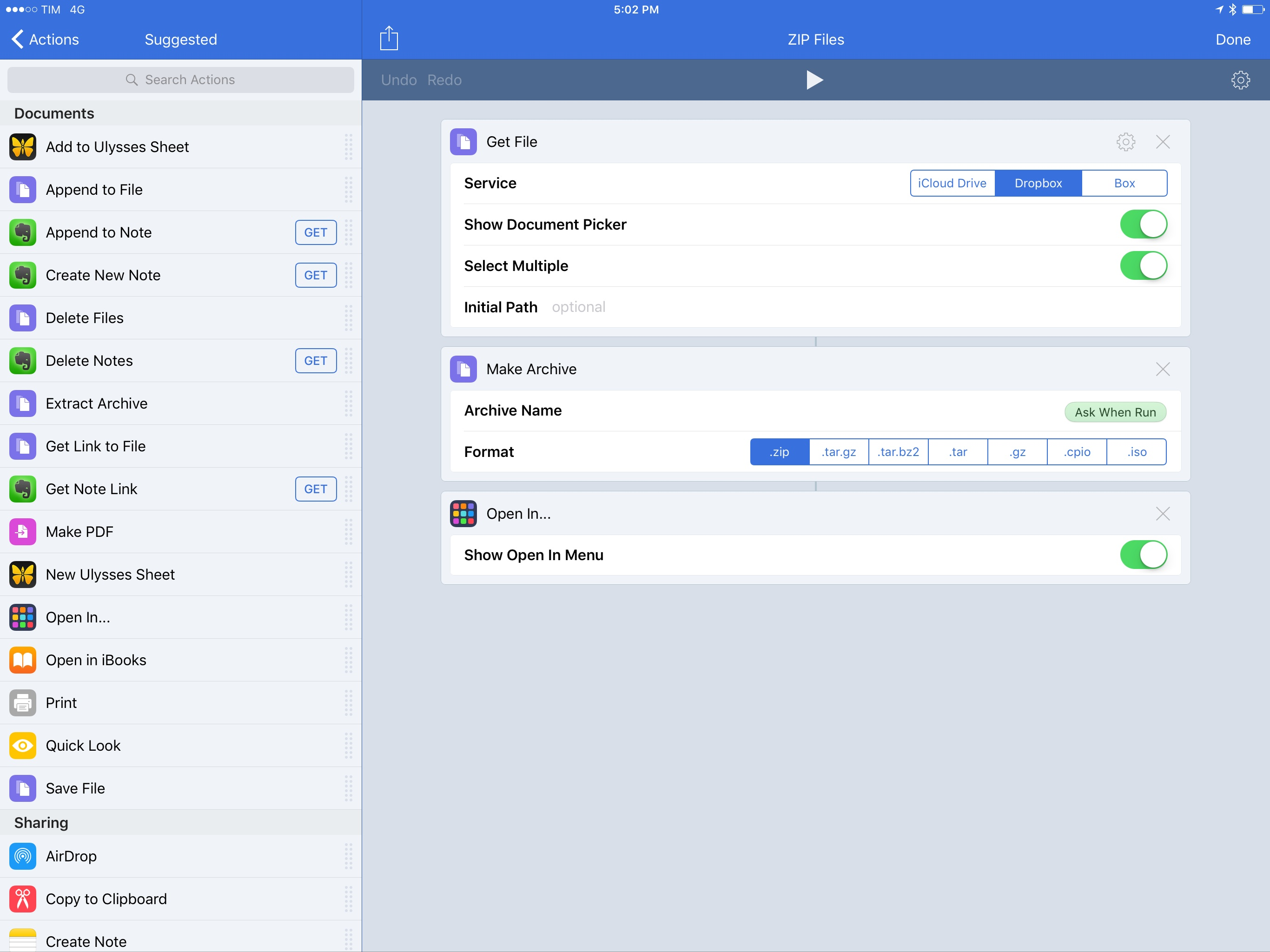 Workflow's 'Make Archive' action turns multiple files into an archive.