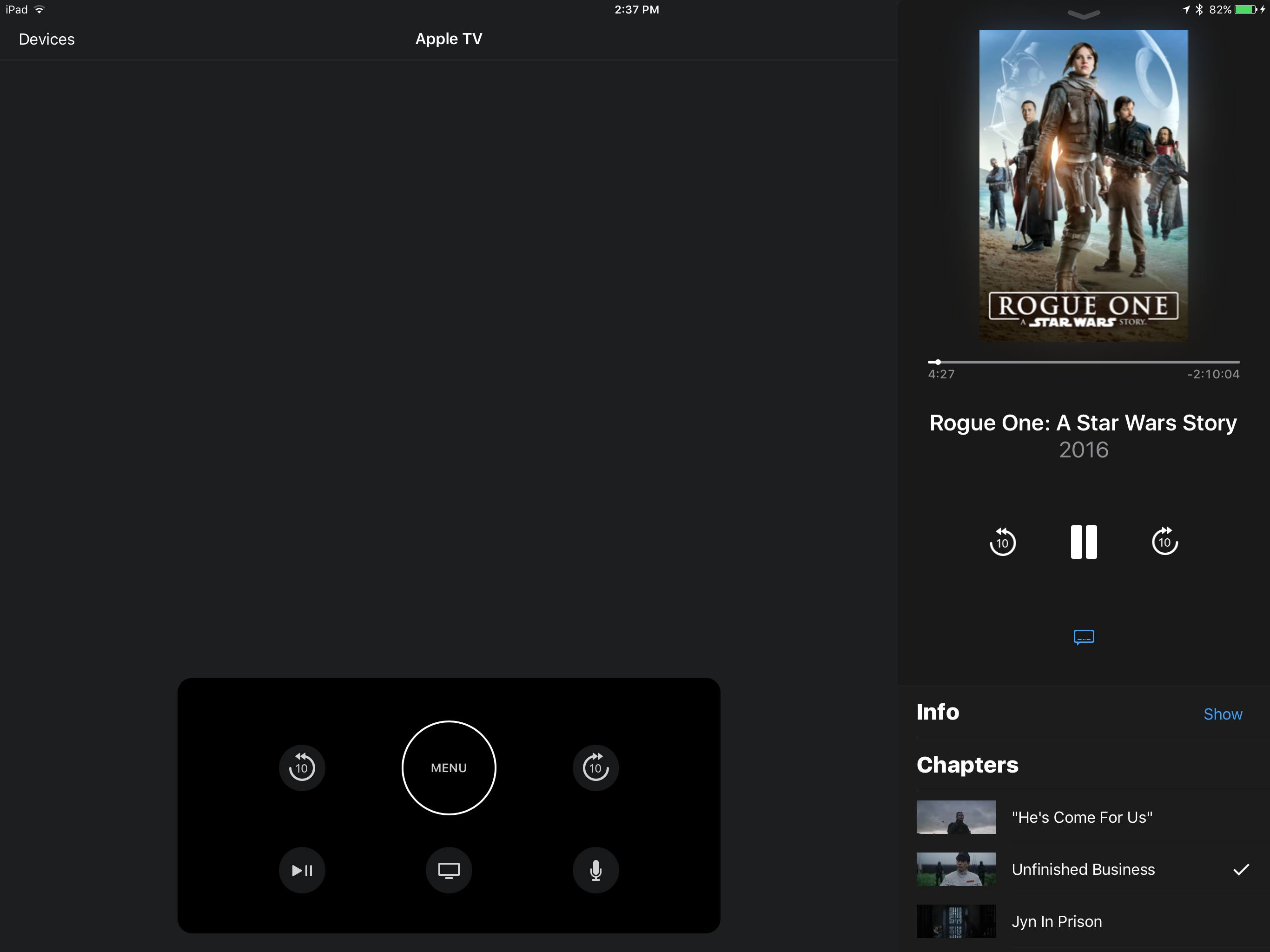 In an update to version 1.1, the Apple TV Remote app for iOS has received  full iPad support. Now an iPad can be used in place of a Siri Remote to  control ...