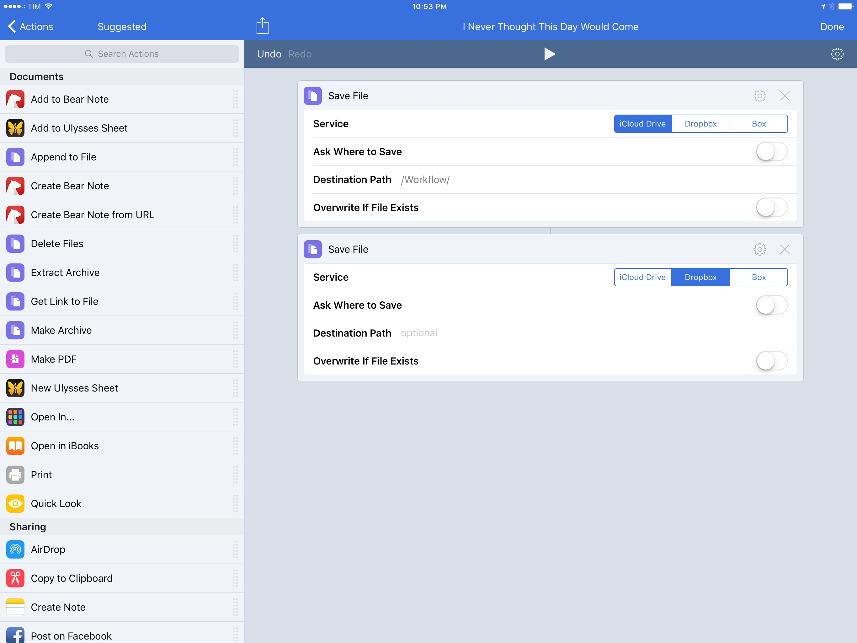 Currently, Workflow's iCloud Drive actions can't be as flexible as the Dropbox ones.