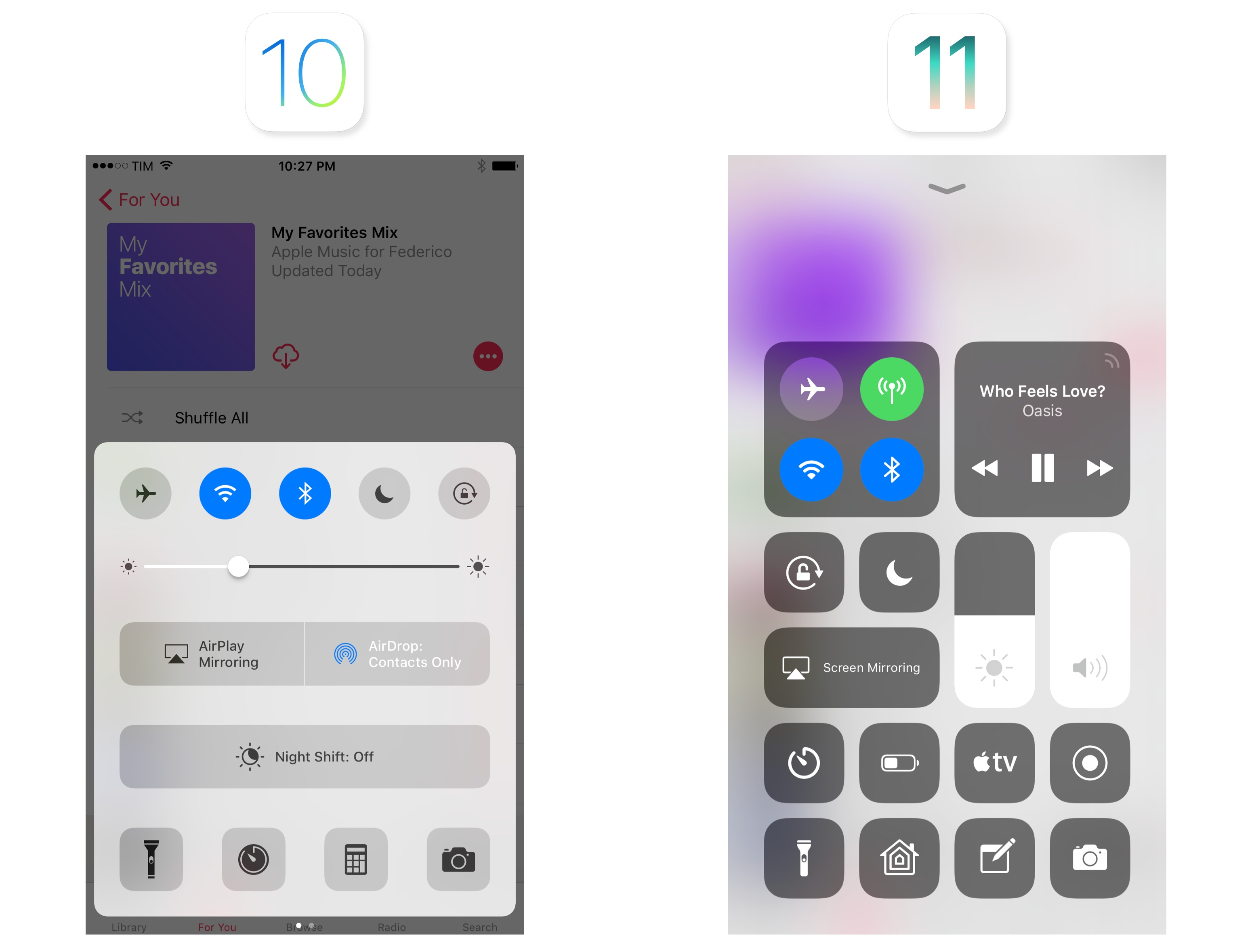 The difference from iOS 10's Control Center is striking.